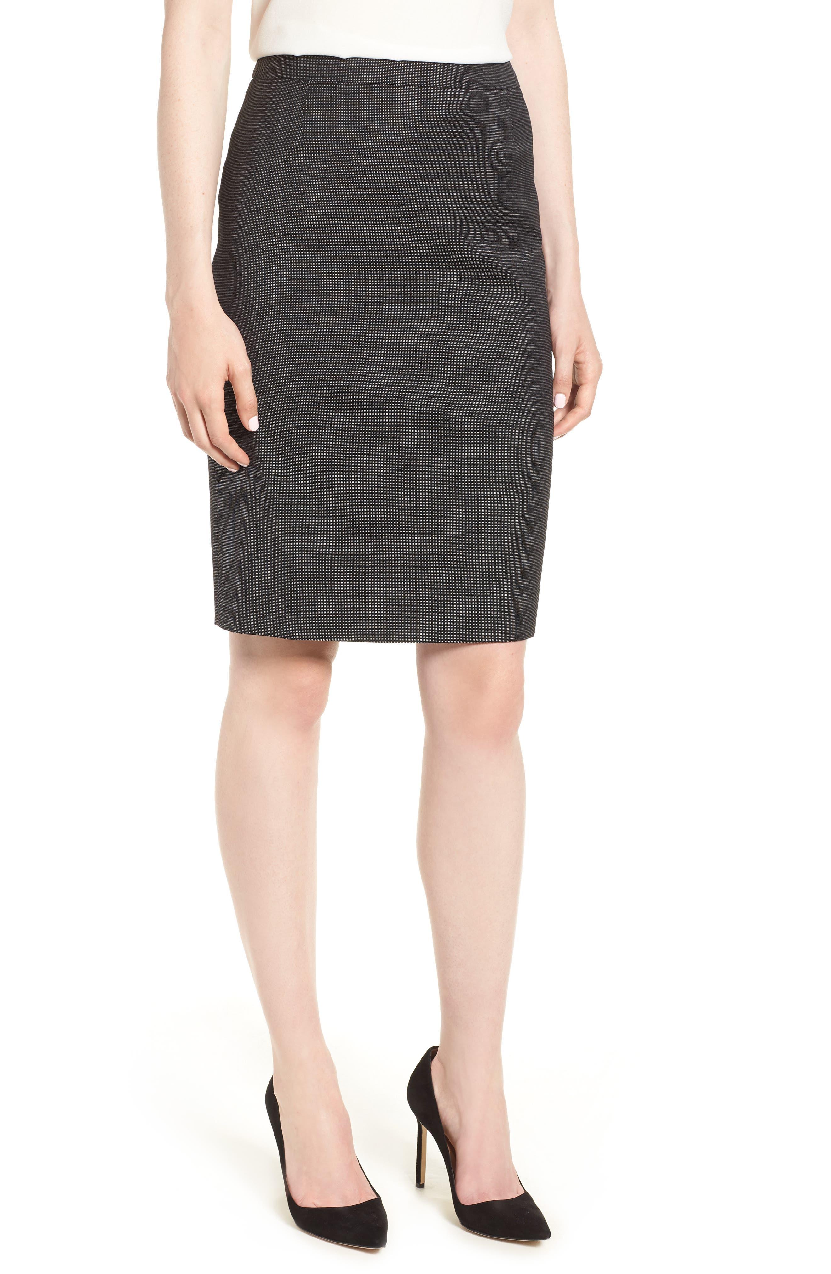 Vimena Stretch Wool Blend Suit Skirt,                         Main,                         color, 009