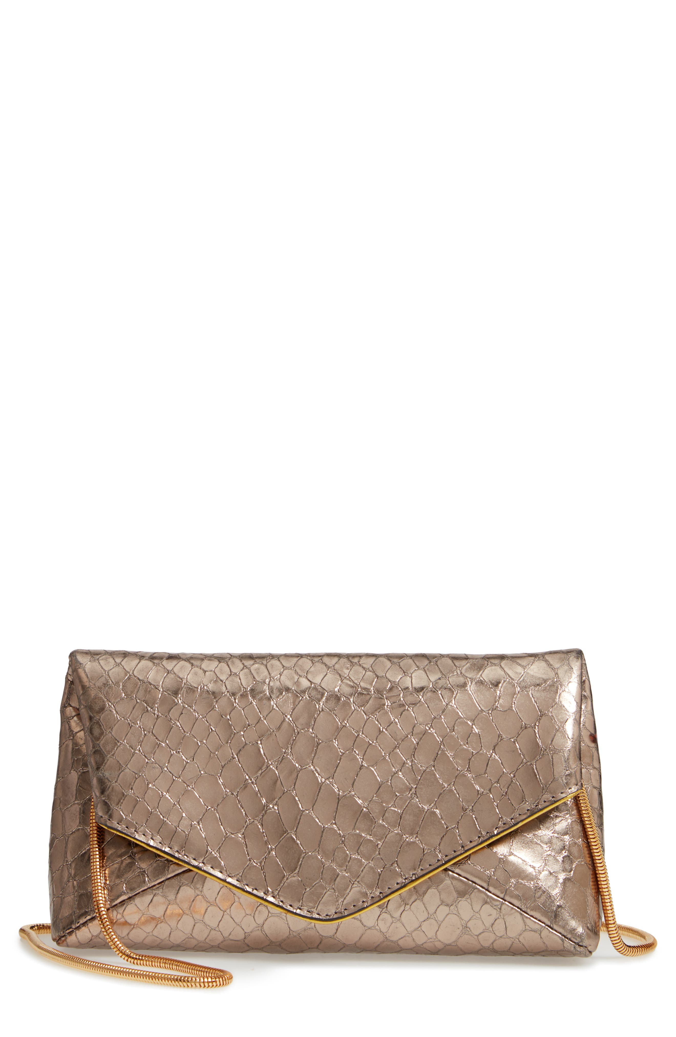 Snake Embossed Leather Envelope Clutch,                             Main thumbnail 1, color,                             SILVER