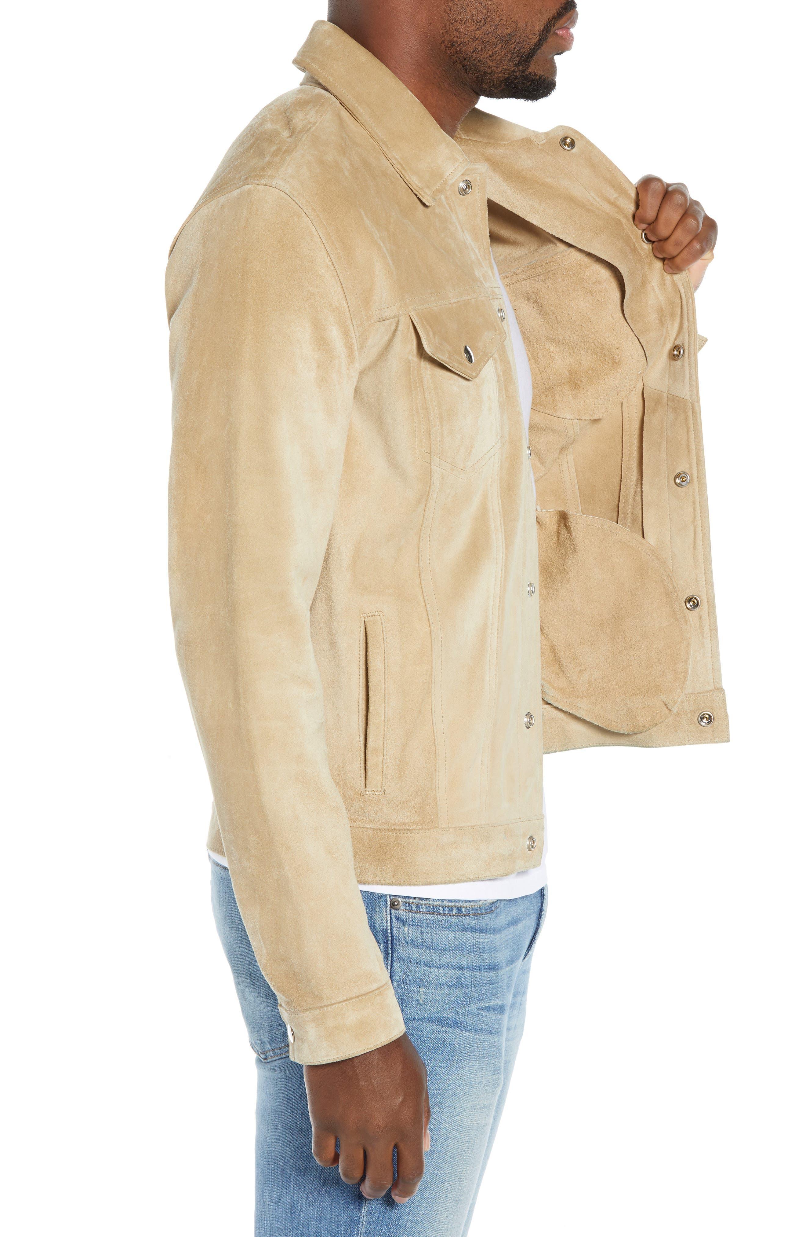 Slim Fit Leather Western Jacket,                             Alternate thumbnail 3, color,                             KHAKI