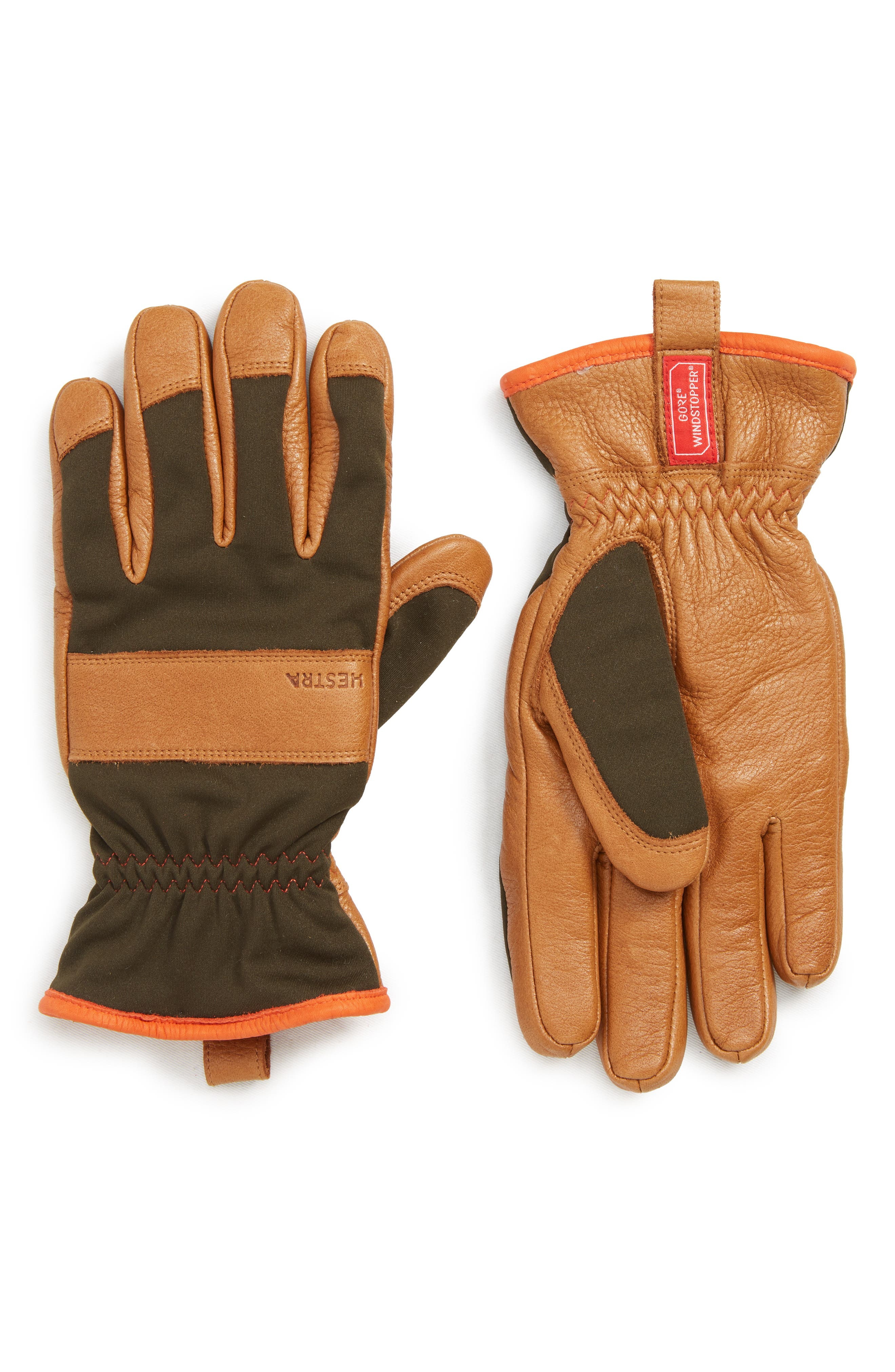'Tor' Leather Gloves,                         Main,                         color, DARK FOREST/ NATURAL YELLOW