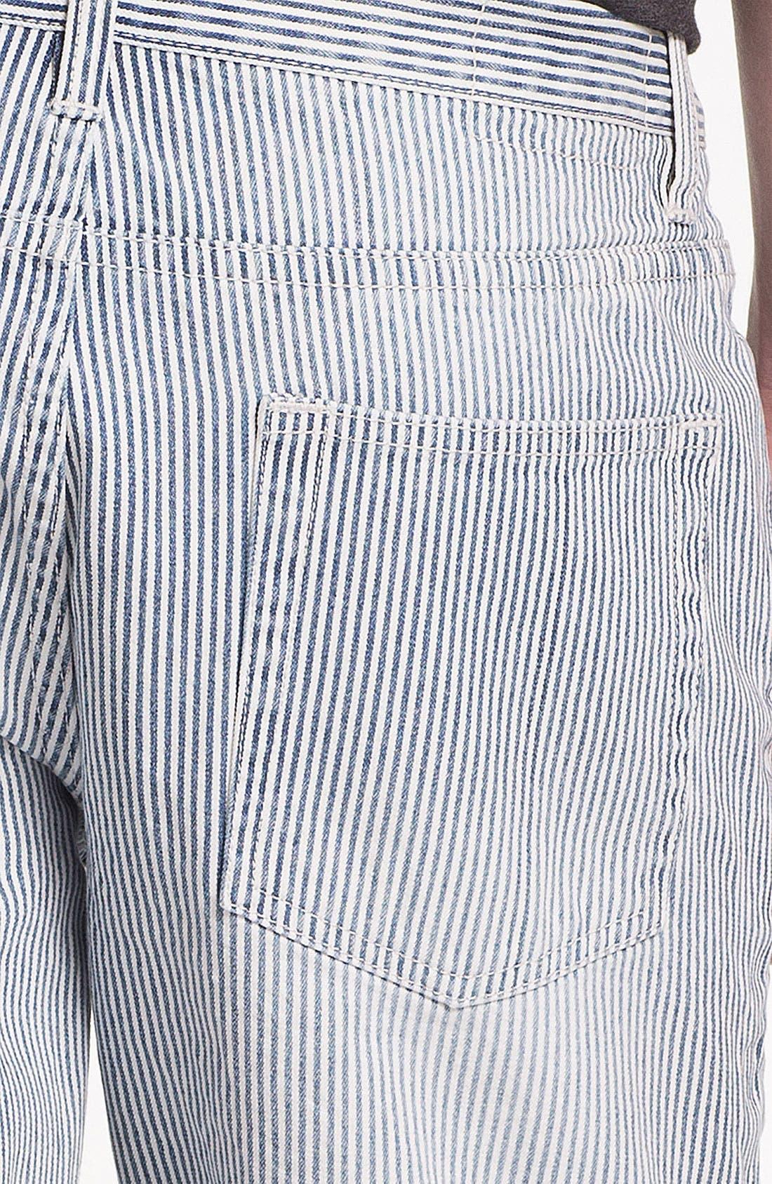 Slim Fit Stripe Denim Shorts,                             Alternate thumbnail 4, color,                             420