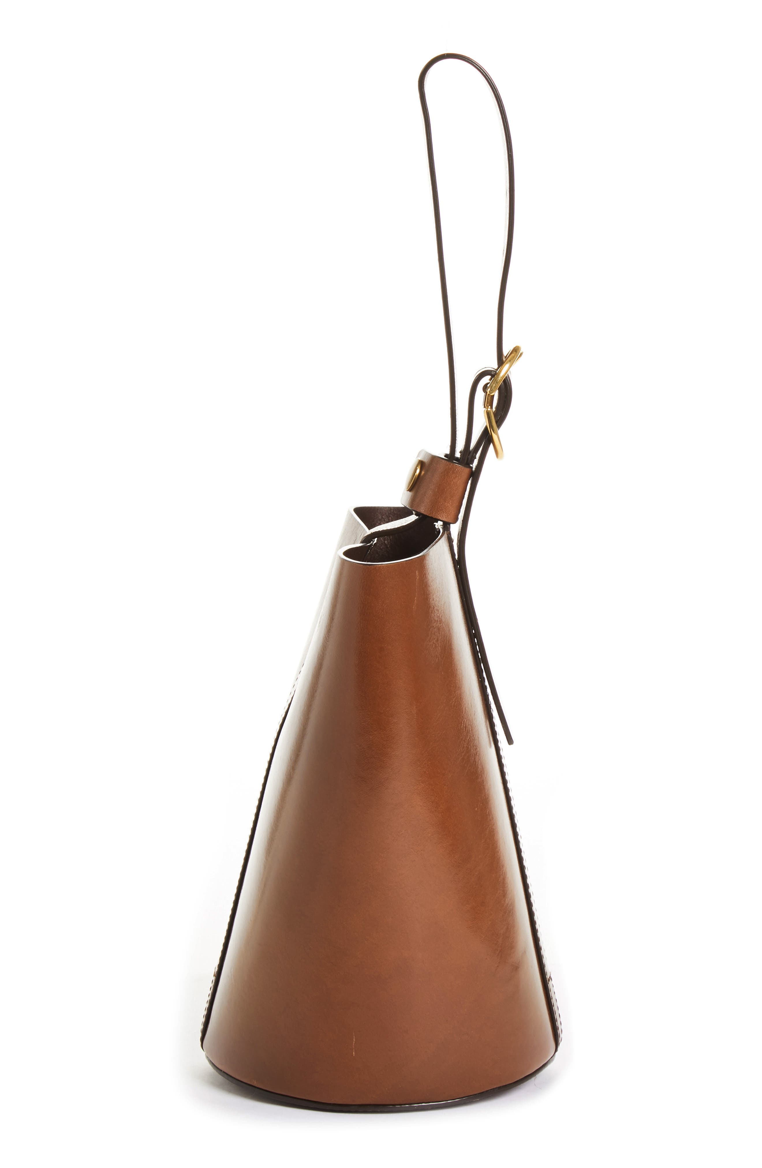 TRADEMARK,                             Small Leather Bucket Bag,                             Alternate thumbnail 5, color,                             201