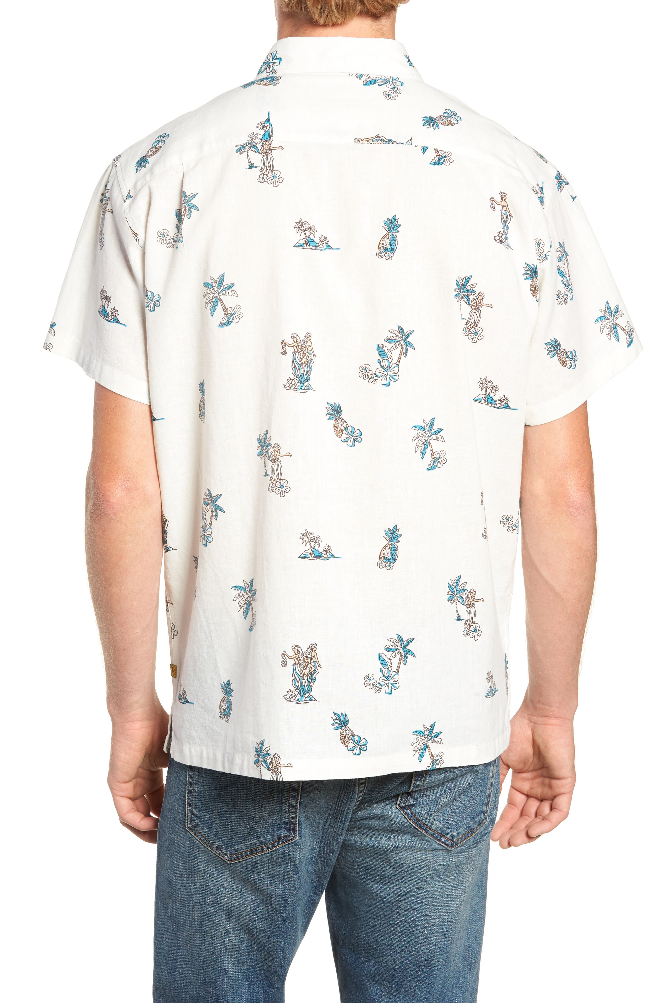 Moku Iki Classic Fit Linen & Cotton Sport Shirt,                             Alternate thumbnail 3, color,                             102