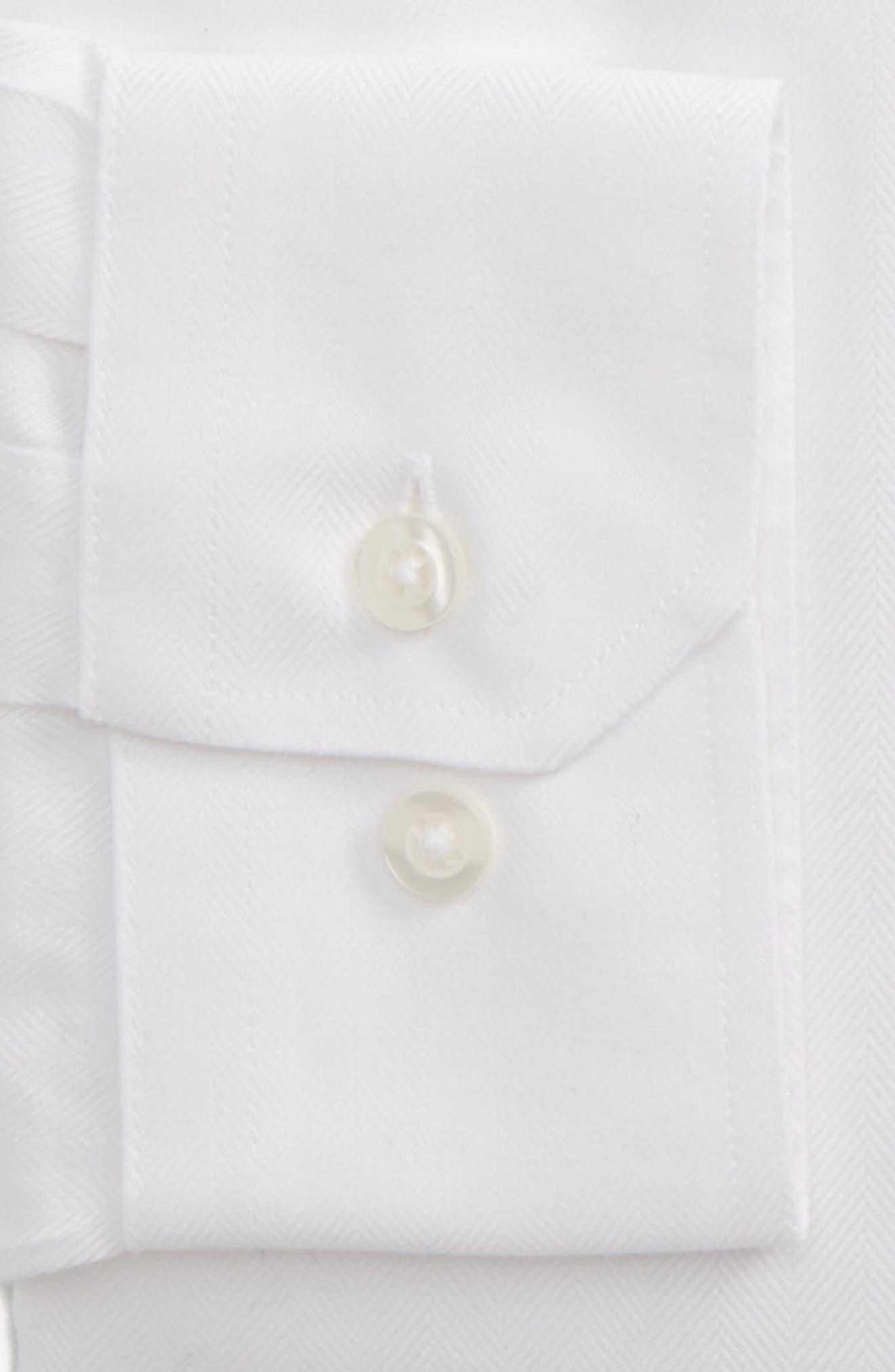 Trim Fit Herringbone Dress Shirt,                             Alternate thumbnail 2, color,                             WHITE