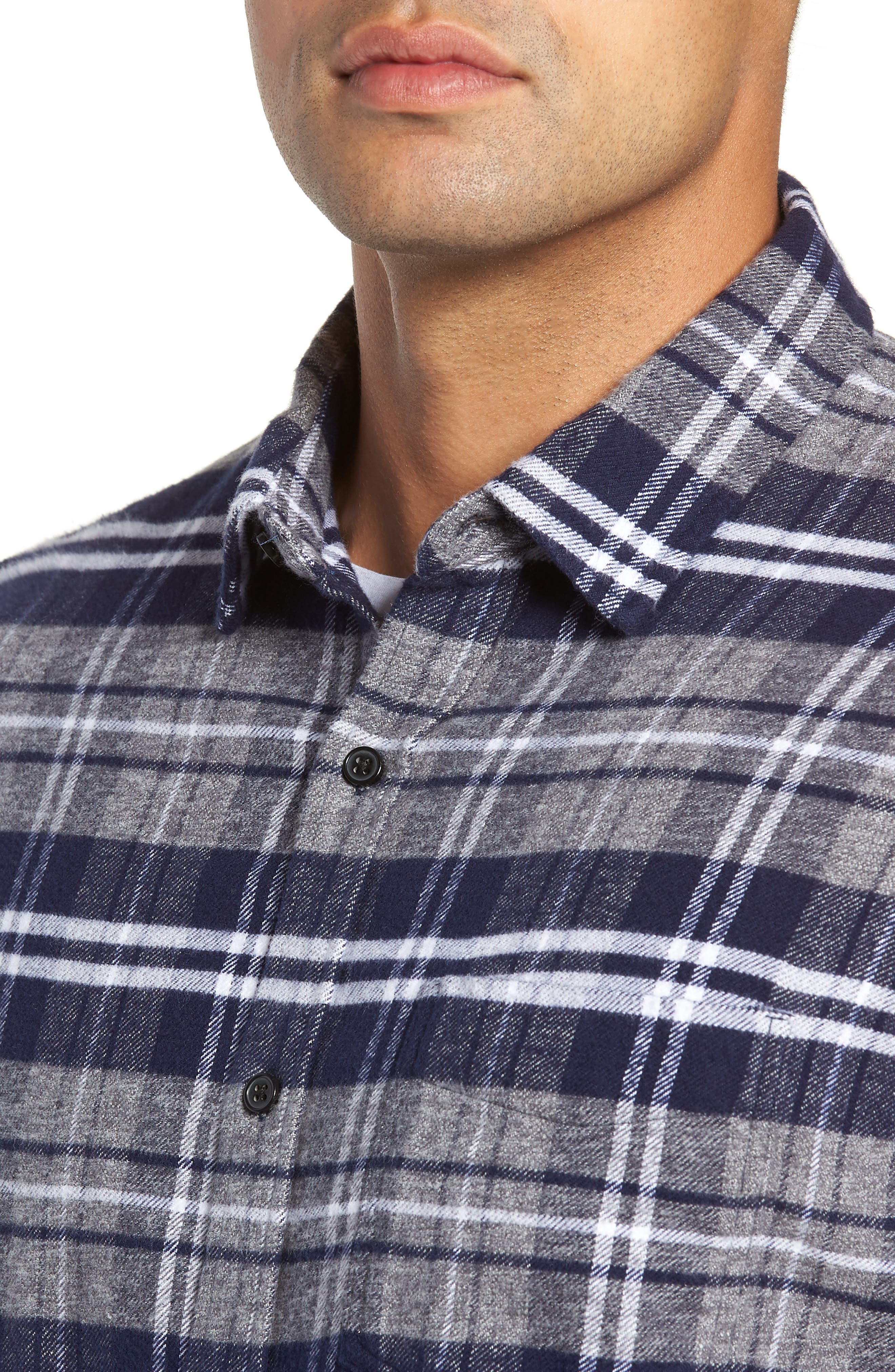 Forrest Slim Fit Plaid Flannel Sport Shirt,                             Alternate thumbnail 2, color,                             NAVY/LIGHT GREY/WHITE