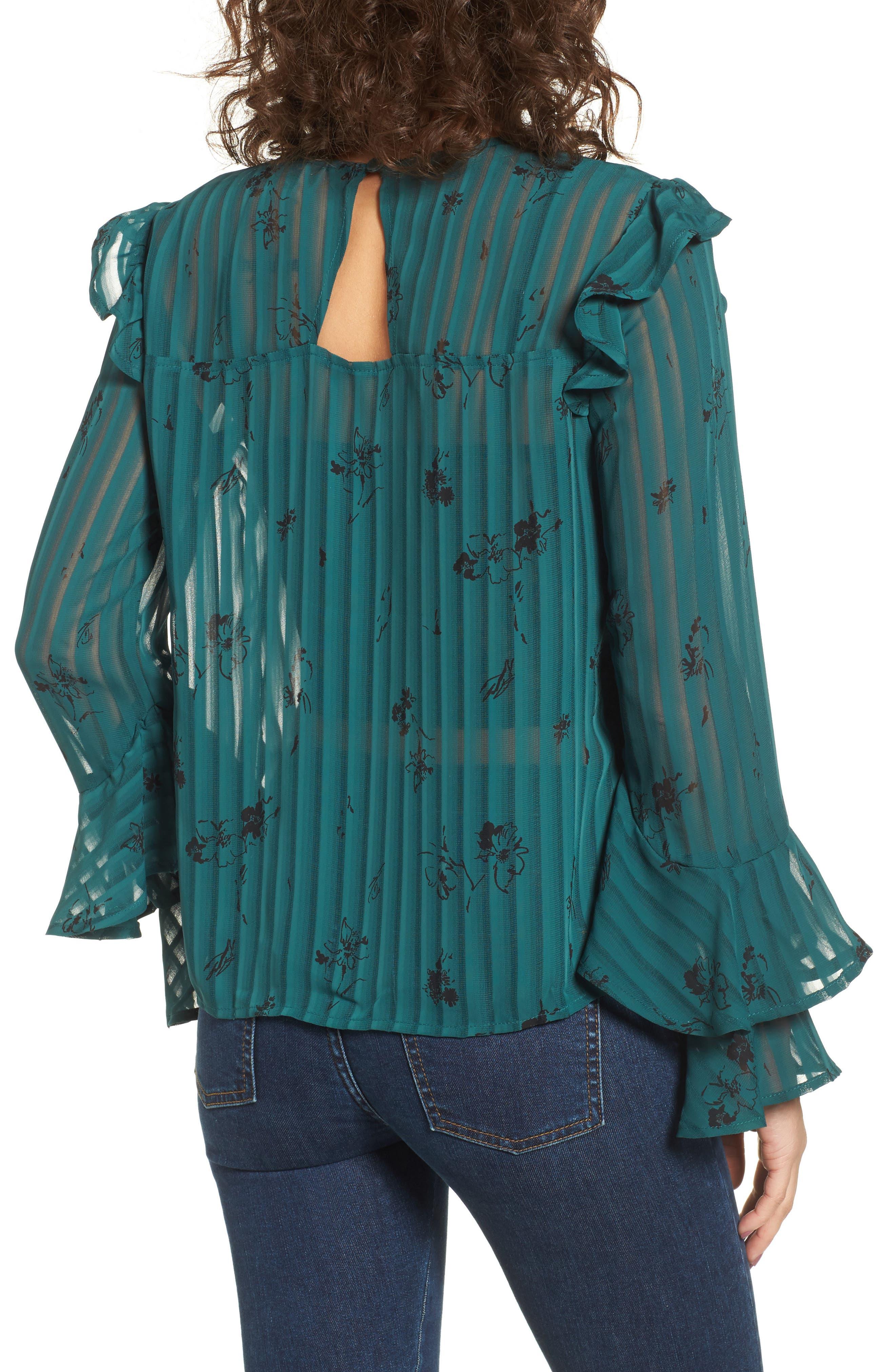 Ruffled Sheer Stripe Blouse,                             Alternate thumbnail 4, color,