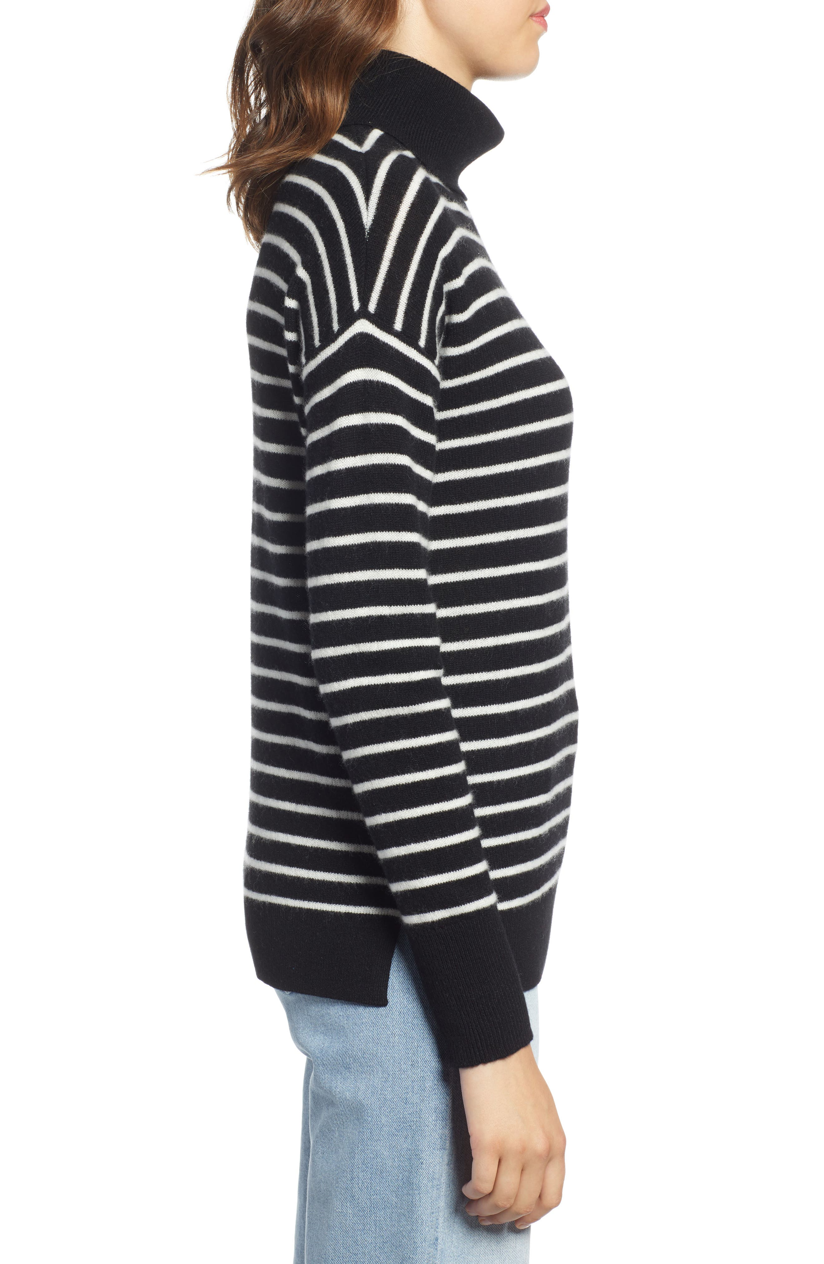 Cashmere Turtleneck Sweater,                             Alternate thumbnail 3, color,                             BLACK- IVORY STRIPE