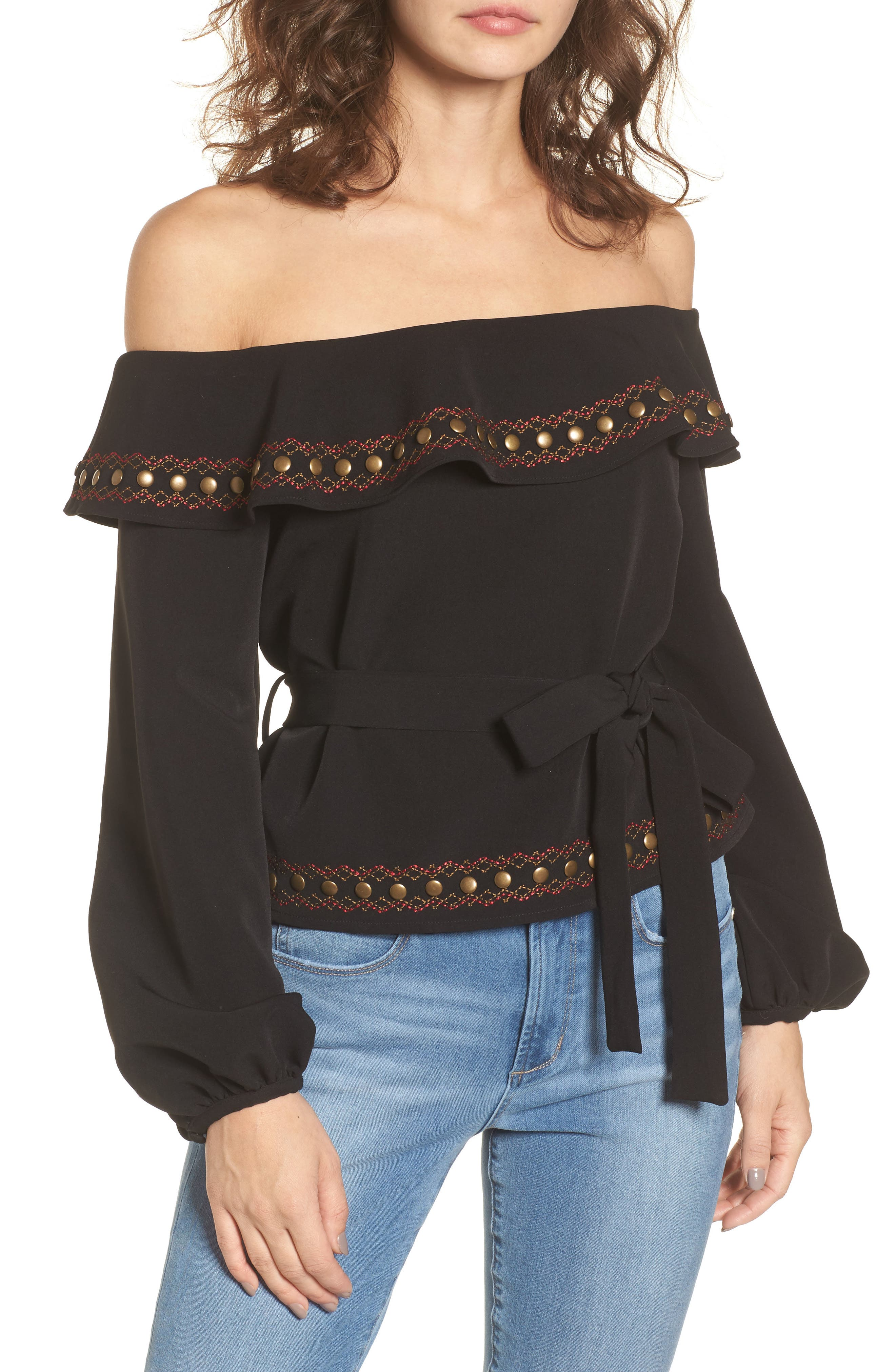 Lucy Off the Shoulder Top,                             Main thumbnail 1, color,                             001