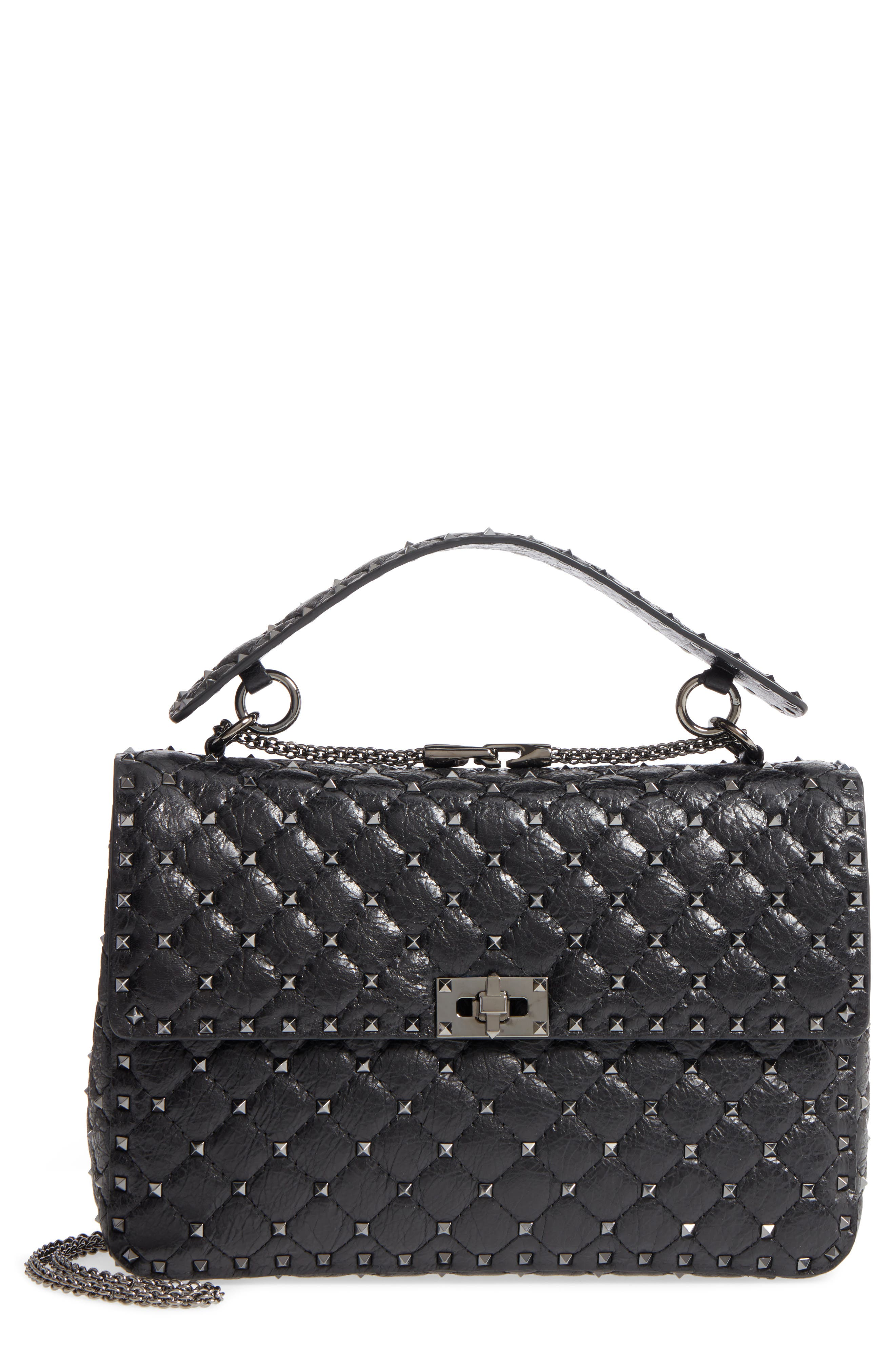 Vitello Rockstud Lambskin Leather Shoulder Bag,                         Main,                         color, 001