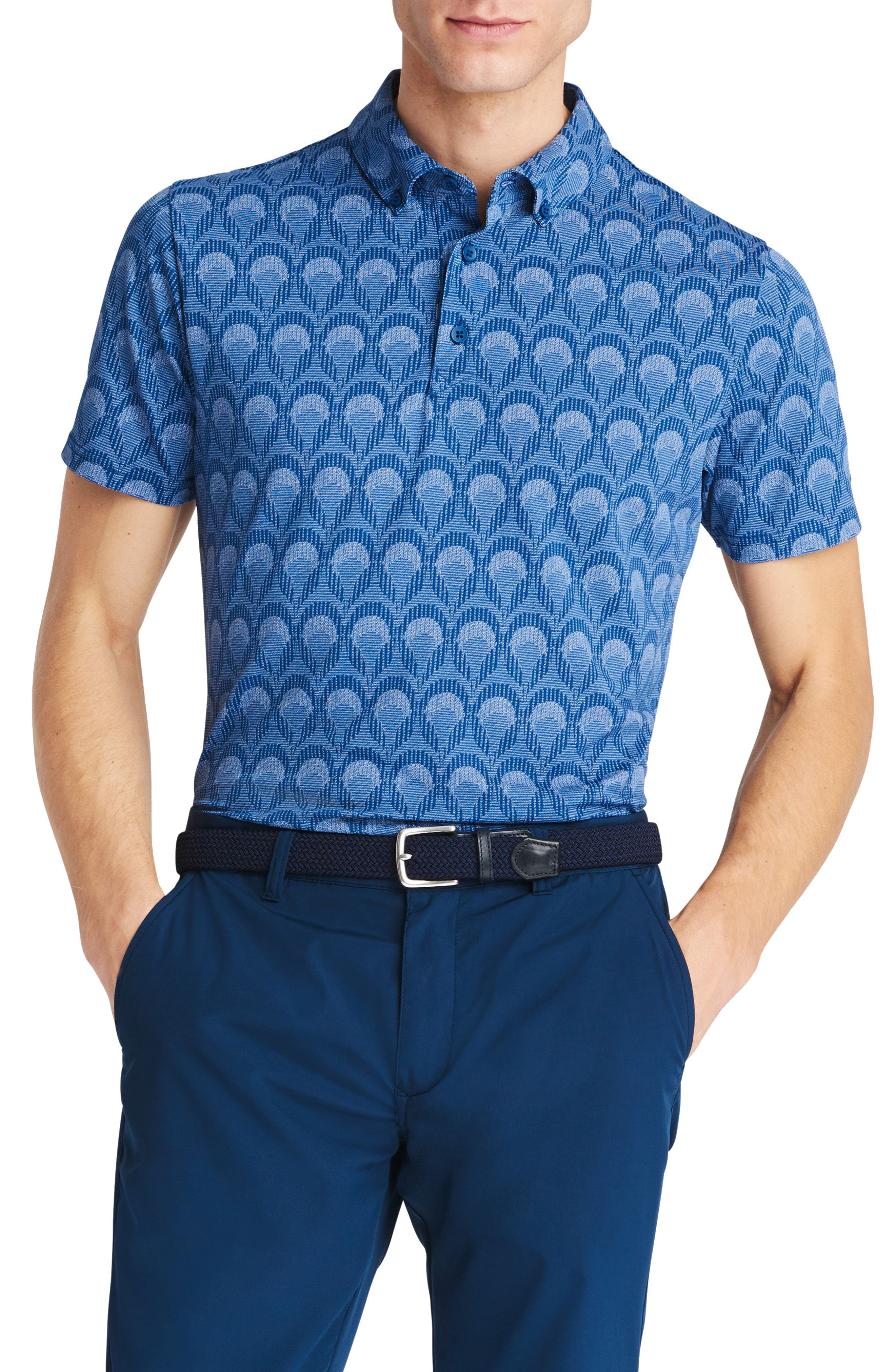 Flatiron Slim Fit Print Golf Polo,                         Main,                         color, 400