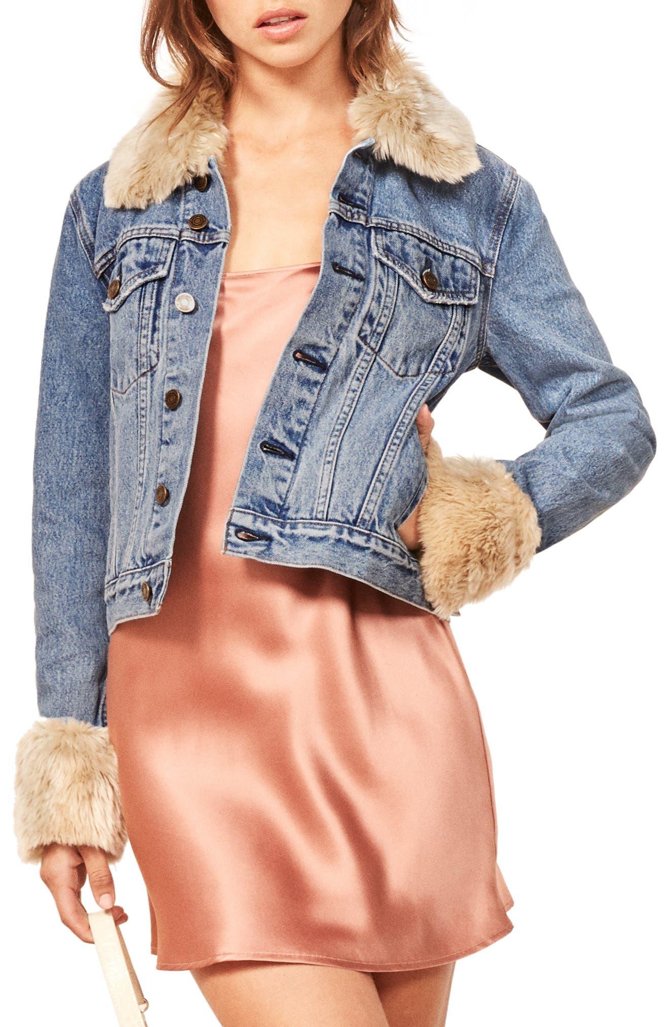 Aussie Faux Fur Trim Denim Jacket, Main, color, 400
