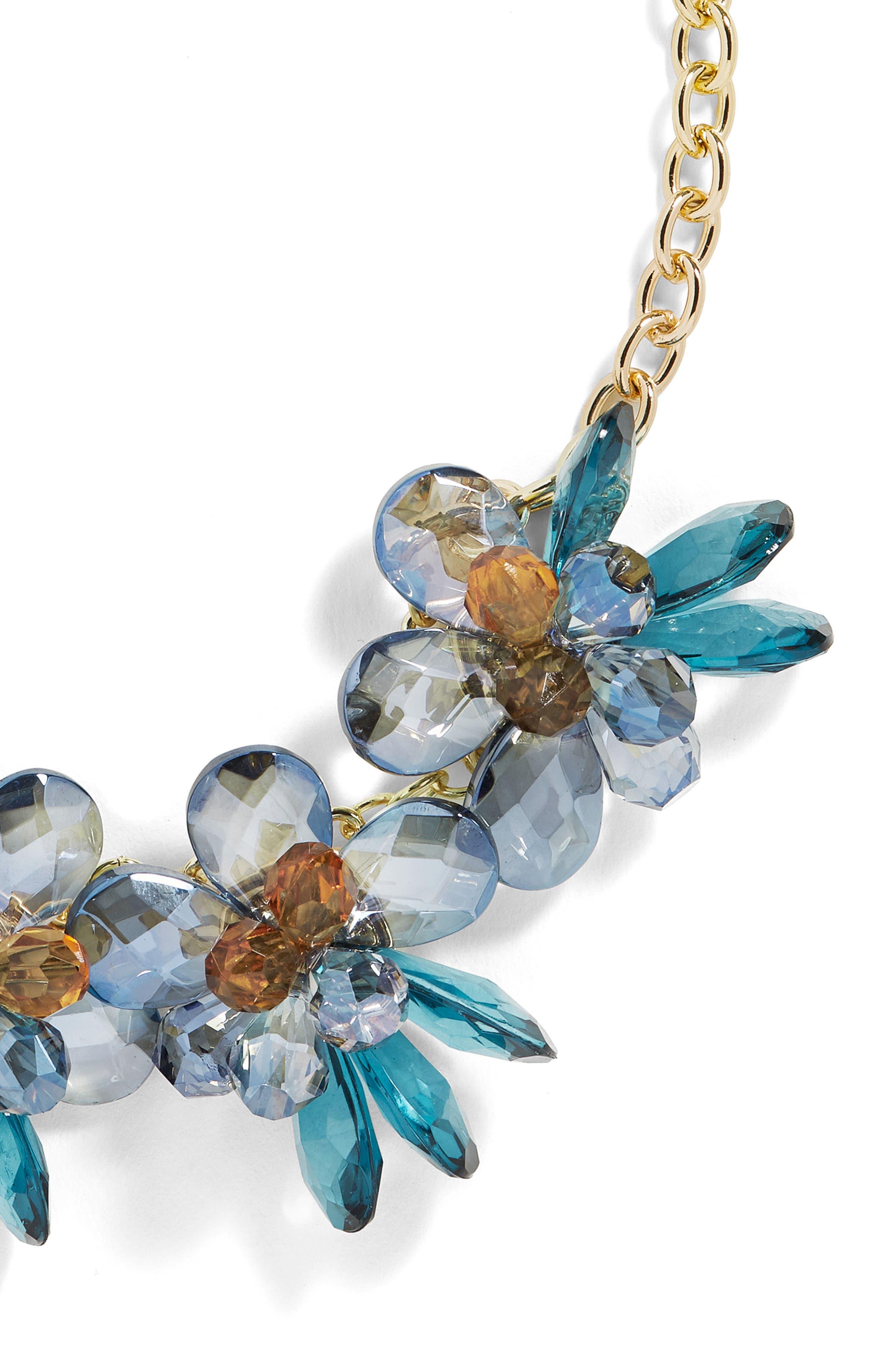 Crystalline Large Flower Statement Necklace,                             Alternate thumbnail 2, color,                             400