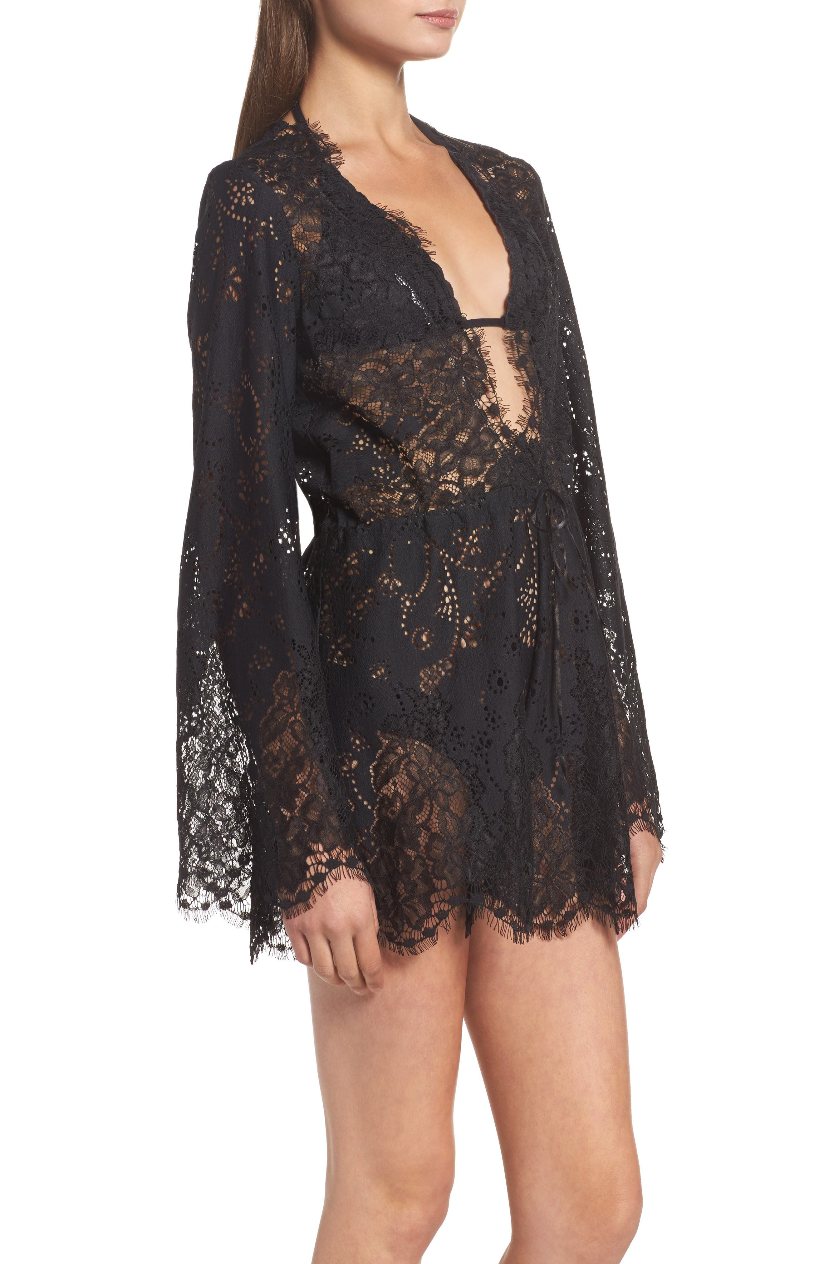 Olympia Lace Cover-Up Romper,                             Alternate thumbnail 3, color,                             001