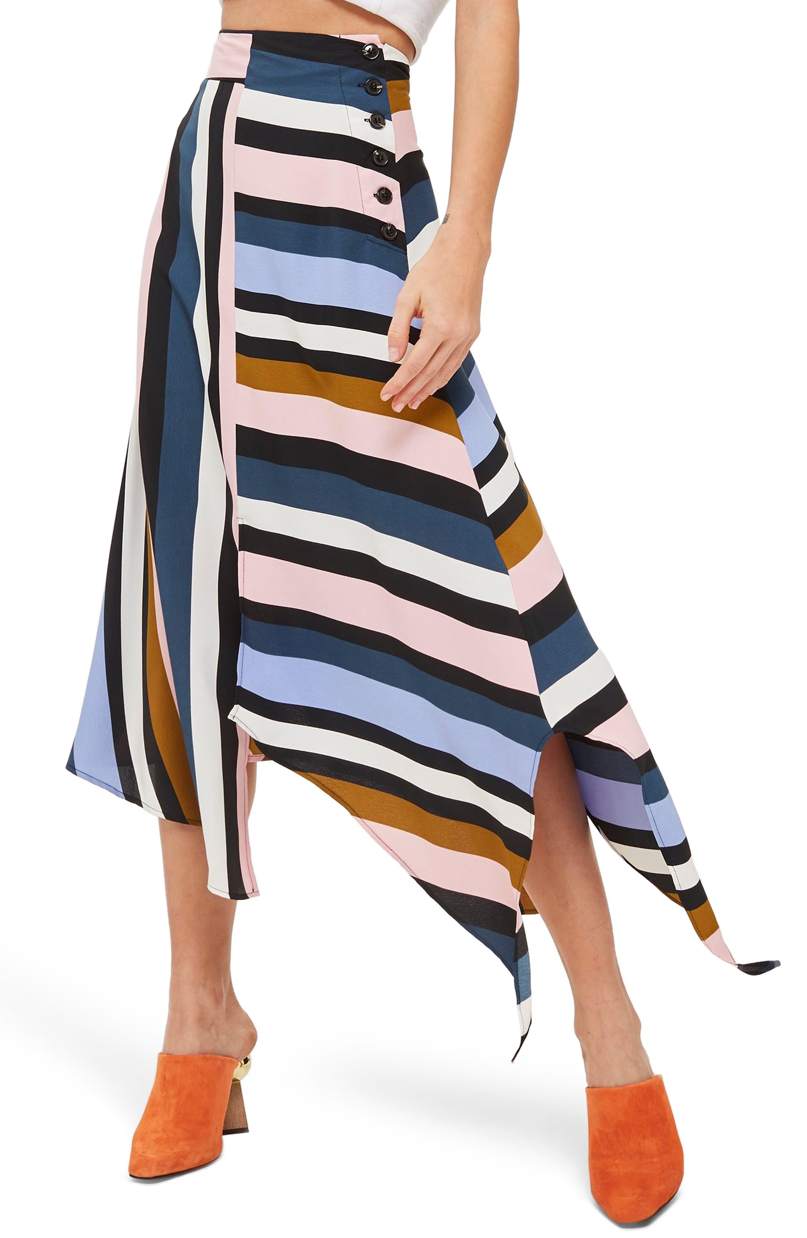 Multi Stripe Asymmetric Midi Skirt,                             Alternate thumbnail 3, color,                             BLACK MULTI