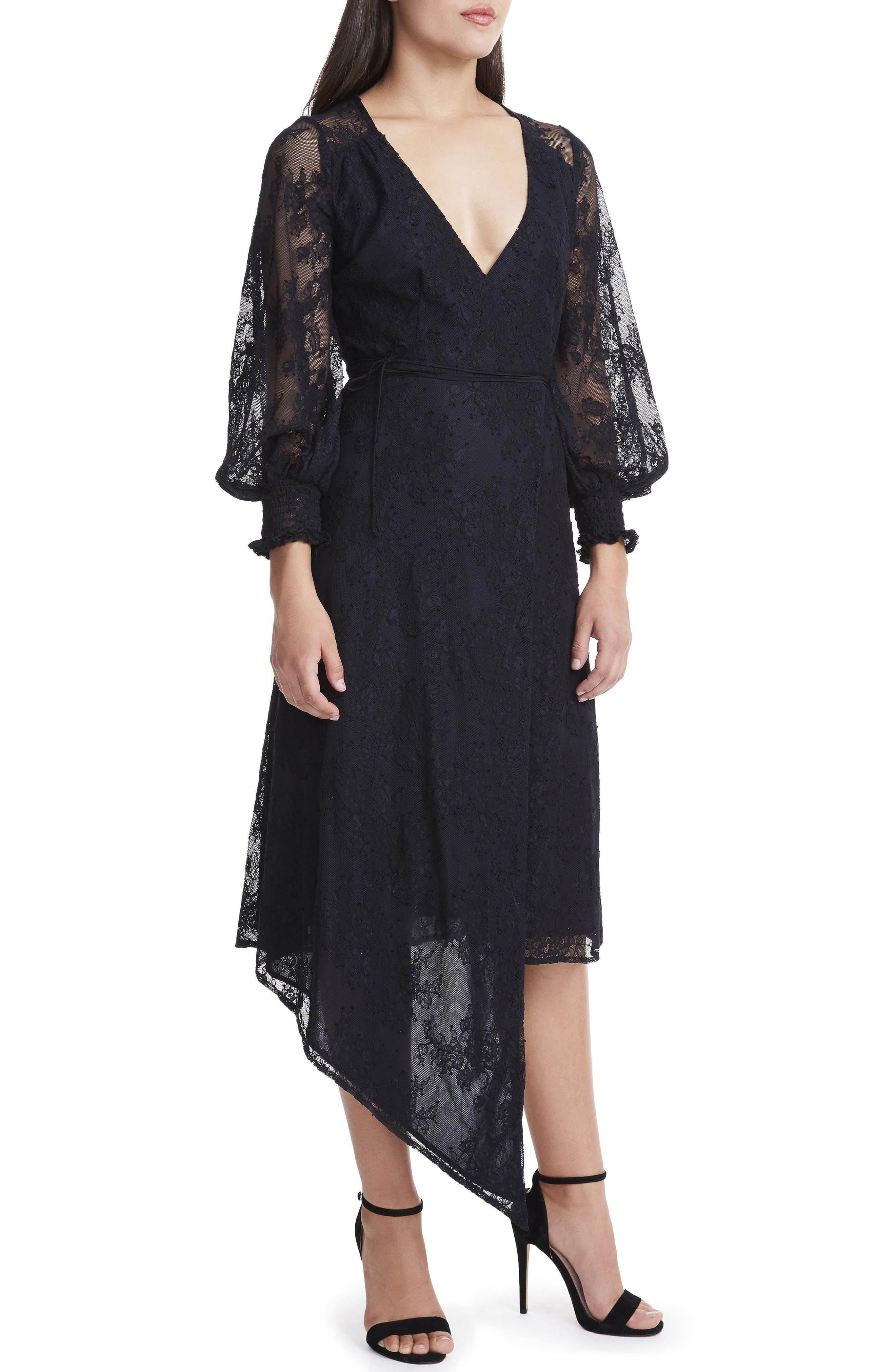 Amalfi Lantern Midi Wrap Dress,                             Alternate thumbnail 5, color,                             001