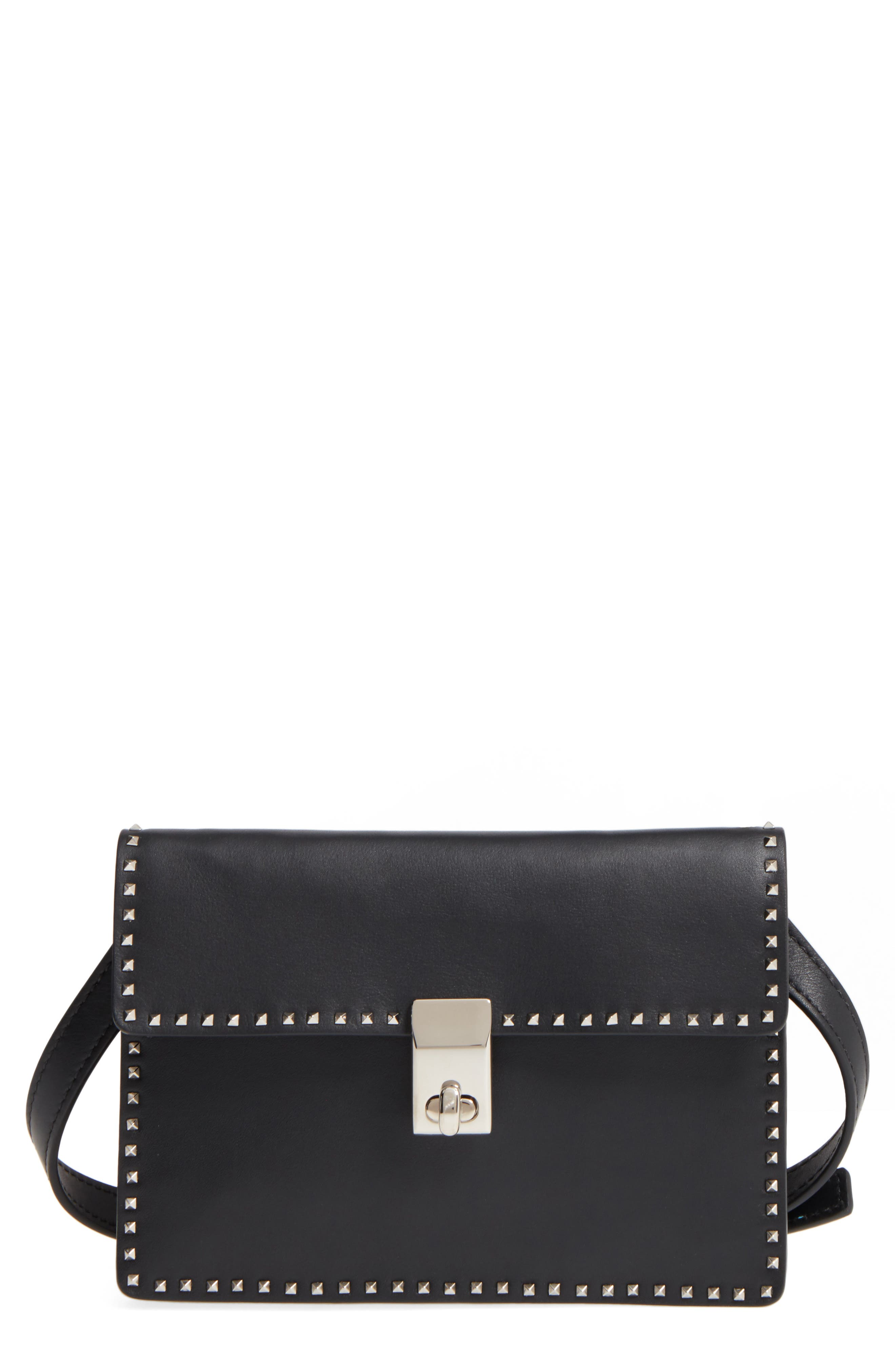Small Rockstud Leather Shoulder Bag,                             Main thumbnail 1, color,                             001