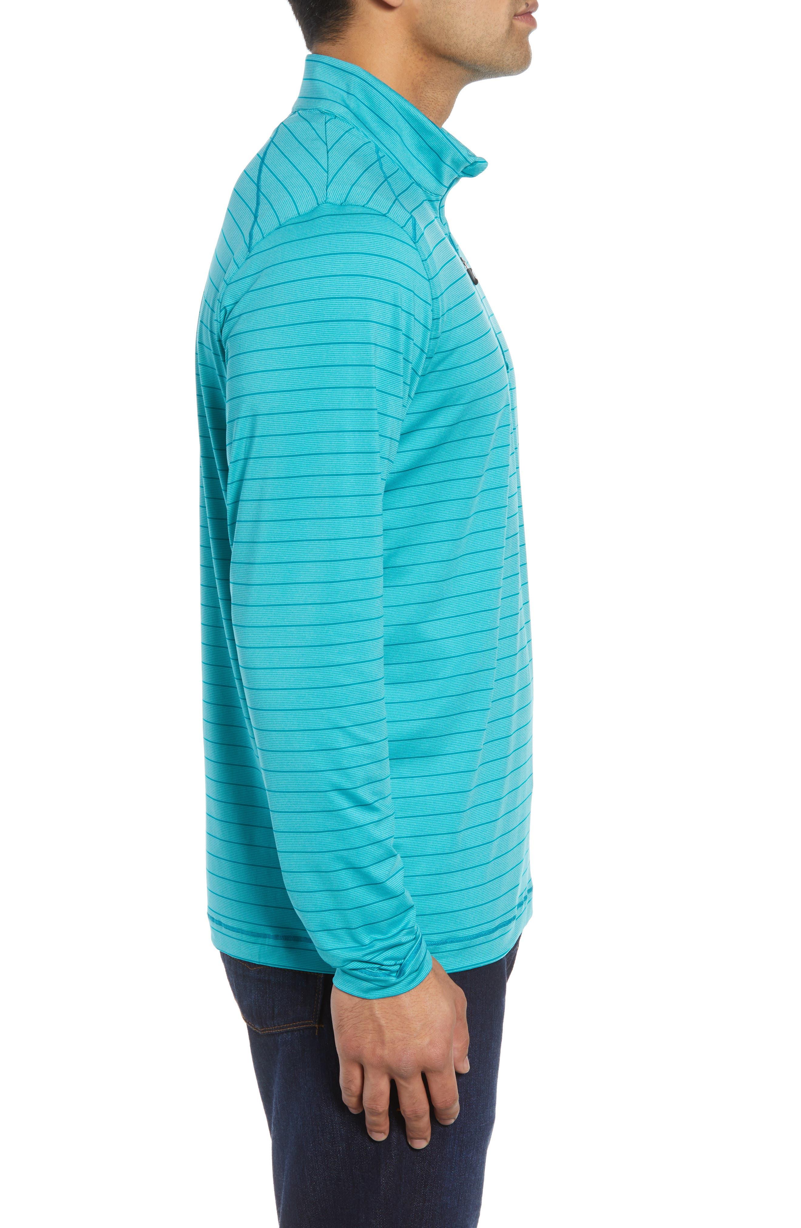 Holman Stripe Half Zip Pullover,                             Alternate thumbnail 3, color,                             AQUATIC HEATHER