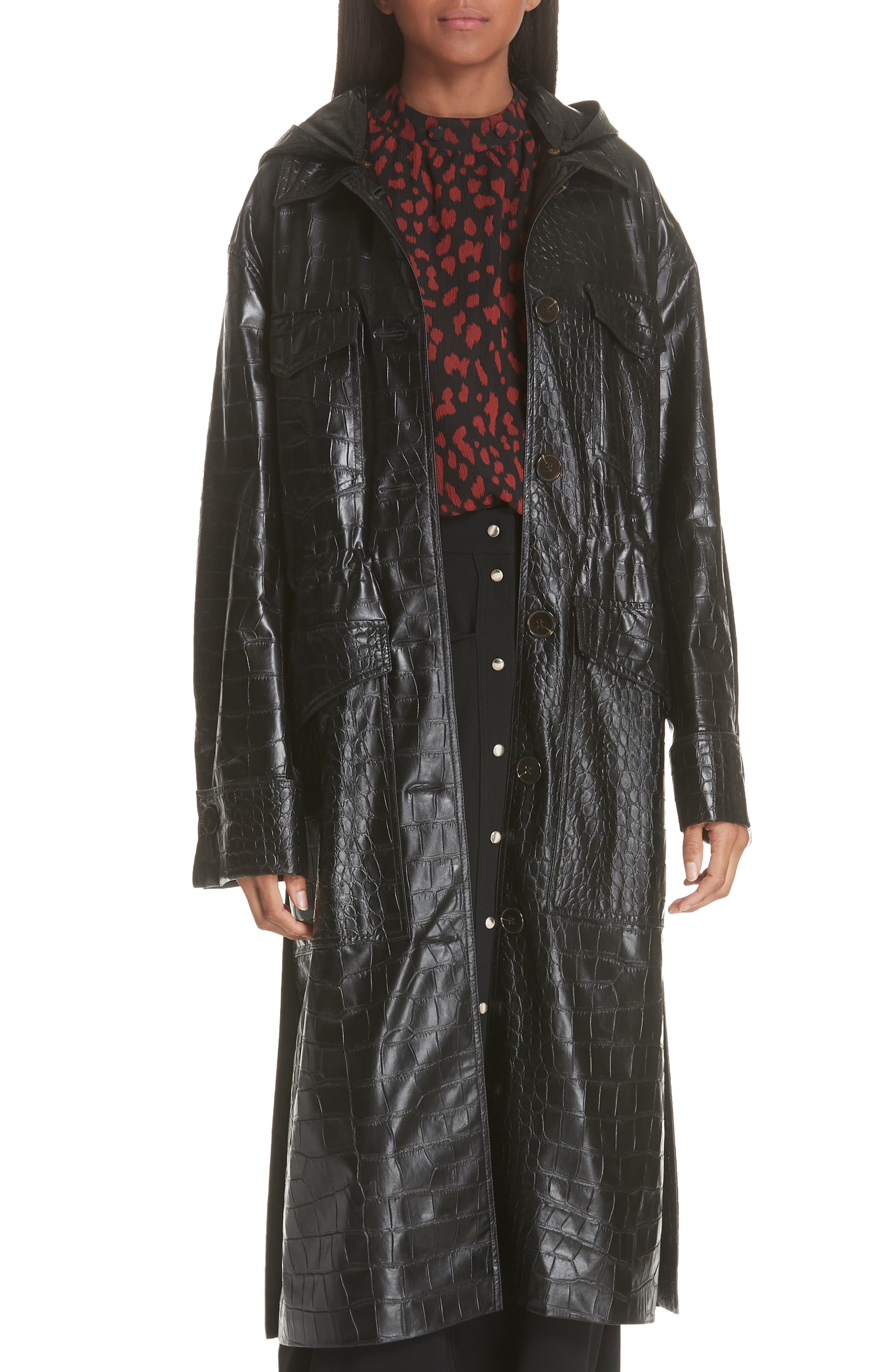 Gus Faux Crocodile Trench Coat,                         Main,                         color, BLACK