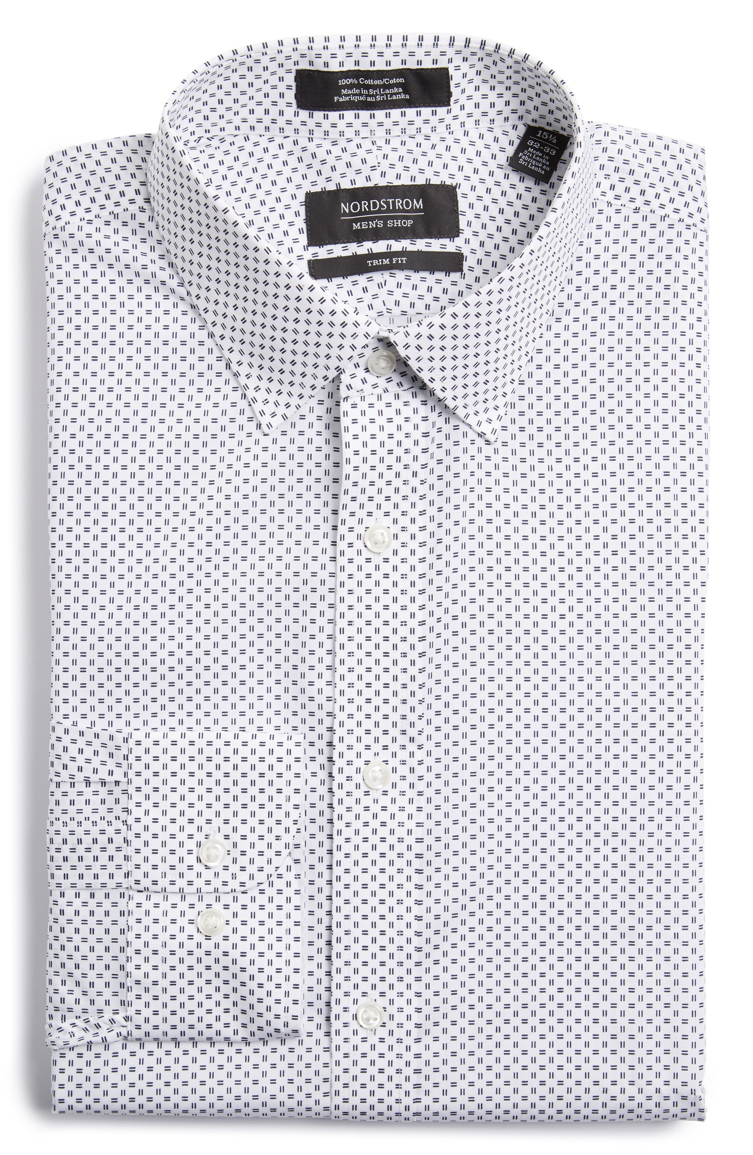 Trim Fit Print Dress Shirt,                             Main thumbnail 1, color,                             100