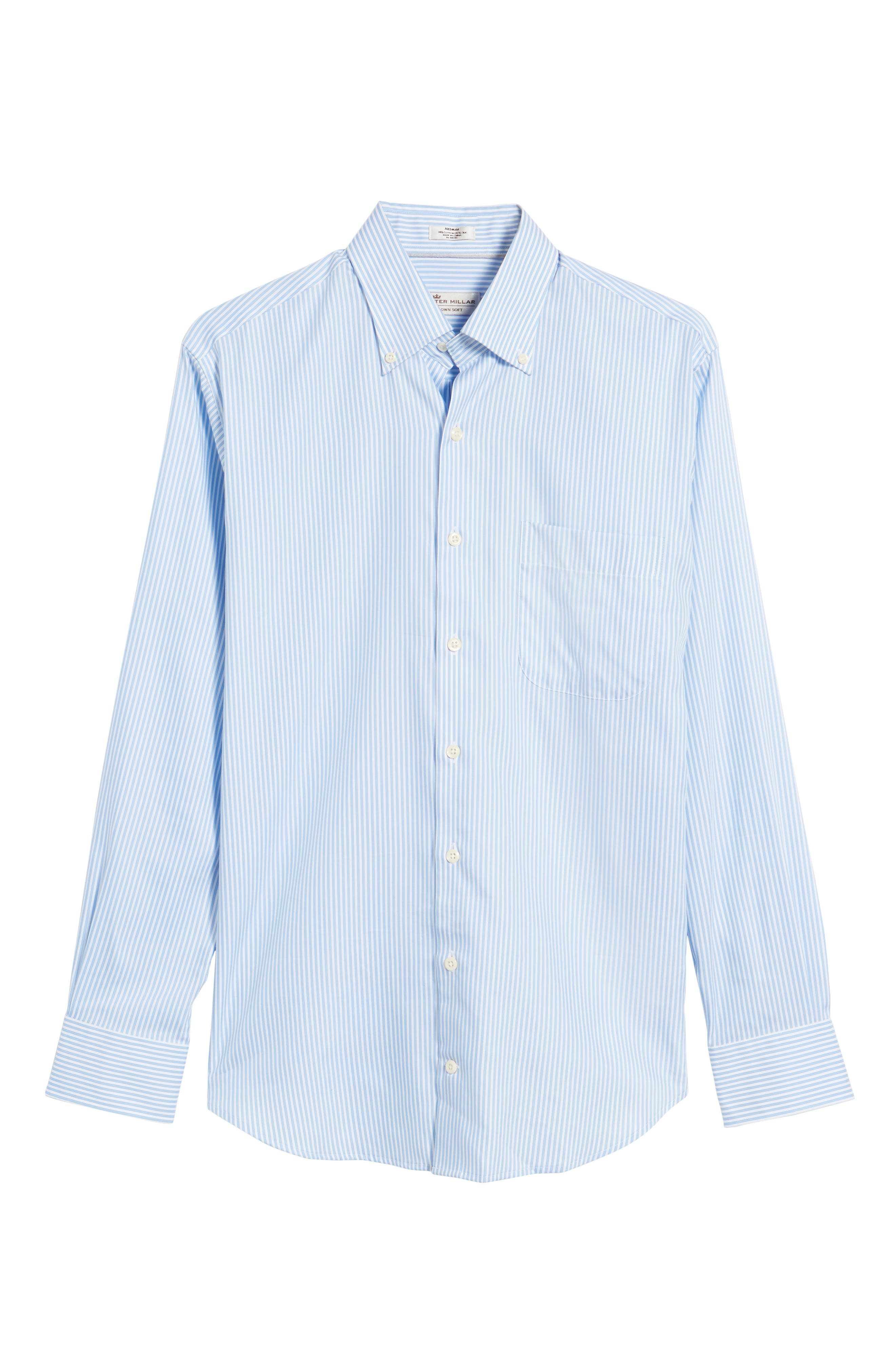 Classic Fit Crown Soft Longshot Stripe Sport Shirt,                             Alternate thumbnail 6, color,                             439