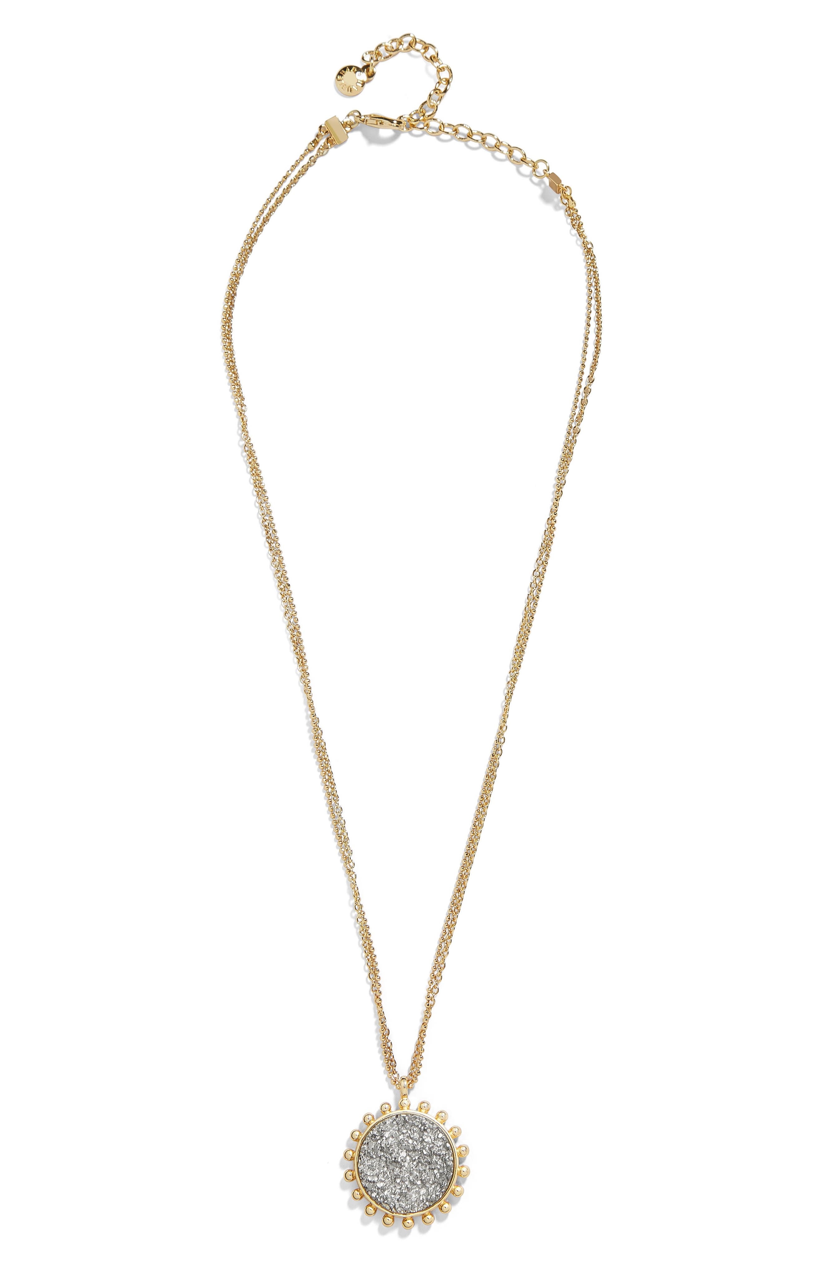 Kerison Drusy Pendant Necklace,                             Main thumbnail 1, color,                             METALLIC GREY