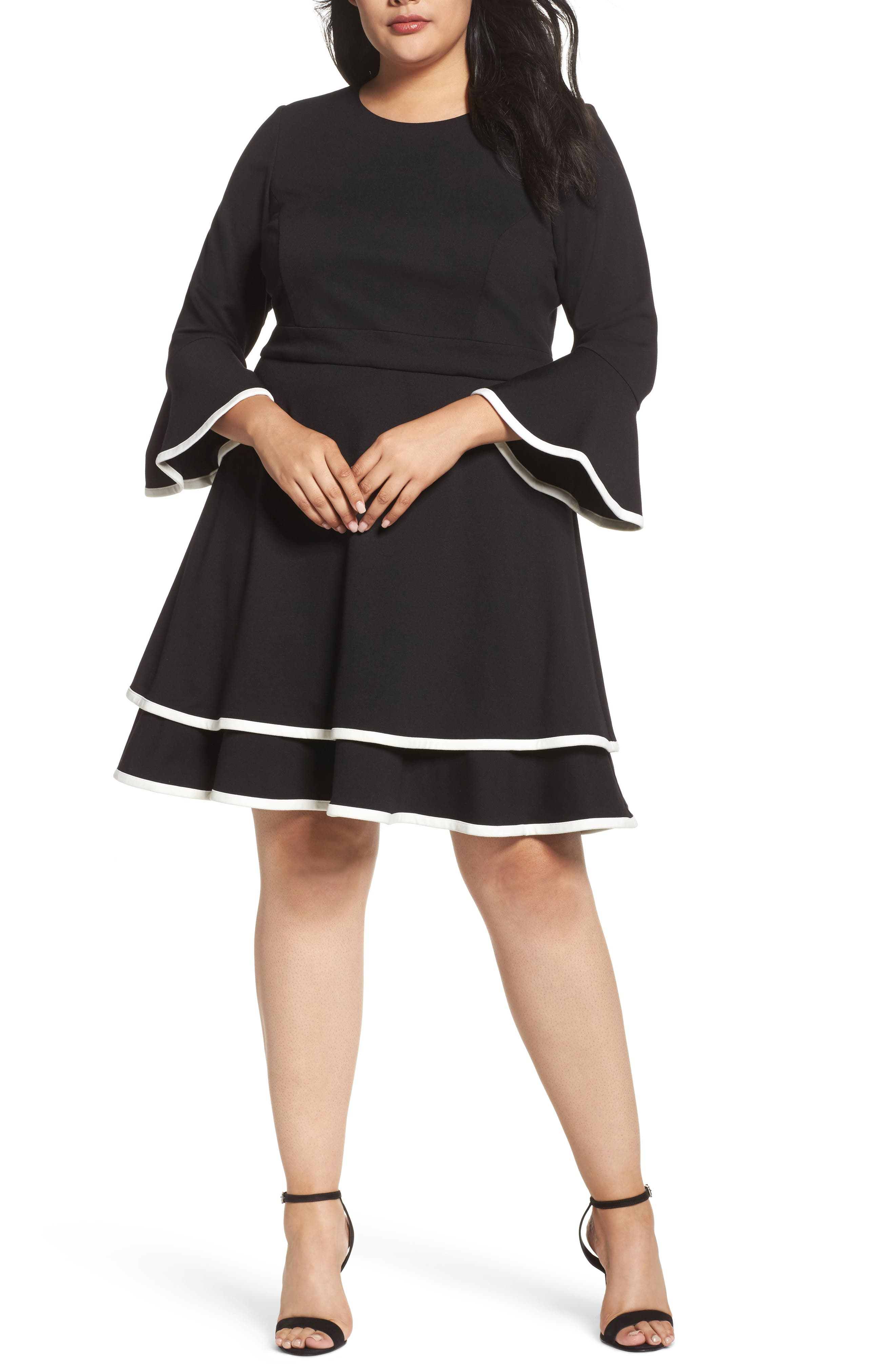 Bell Sleeve Contrast Trim Fit & Flare Dress,                             Main thumbnail 1, color,                             BLACK/ IVORY