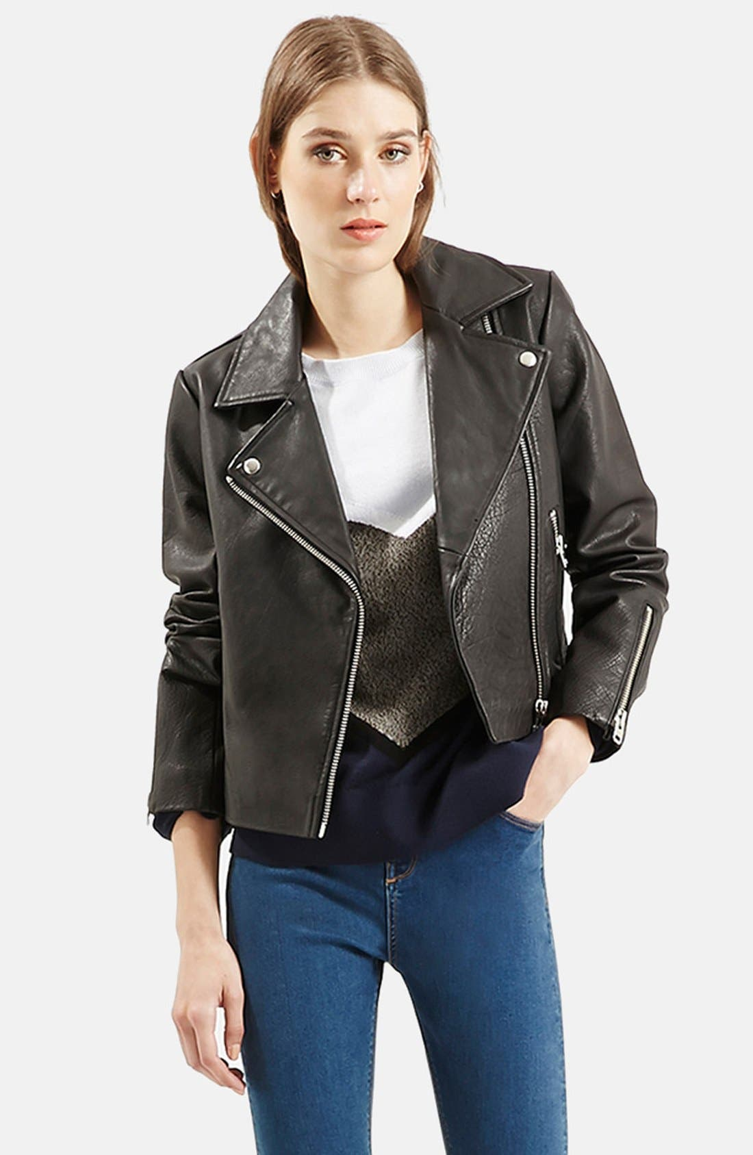 Leather Biker Jacket,                             Main thumbnail 1, color,                             001