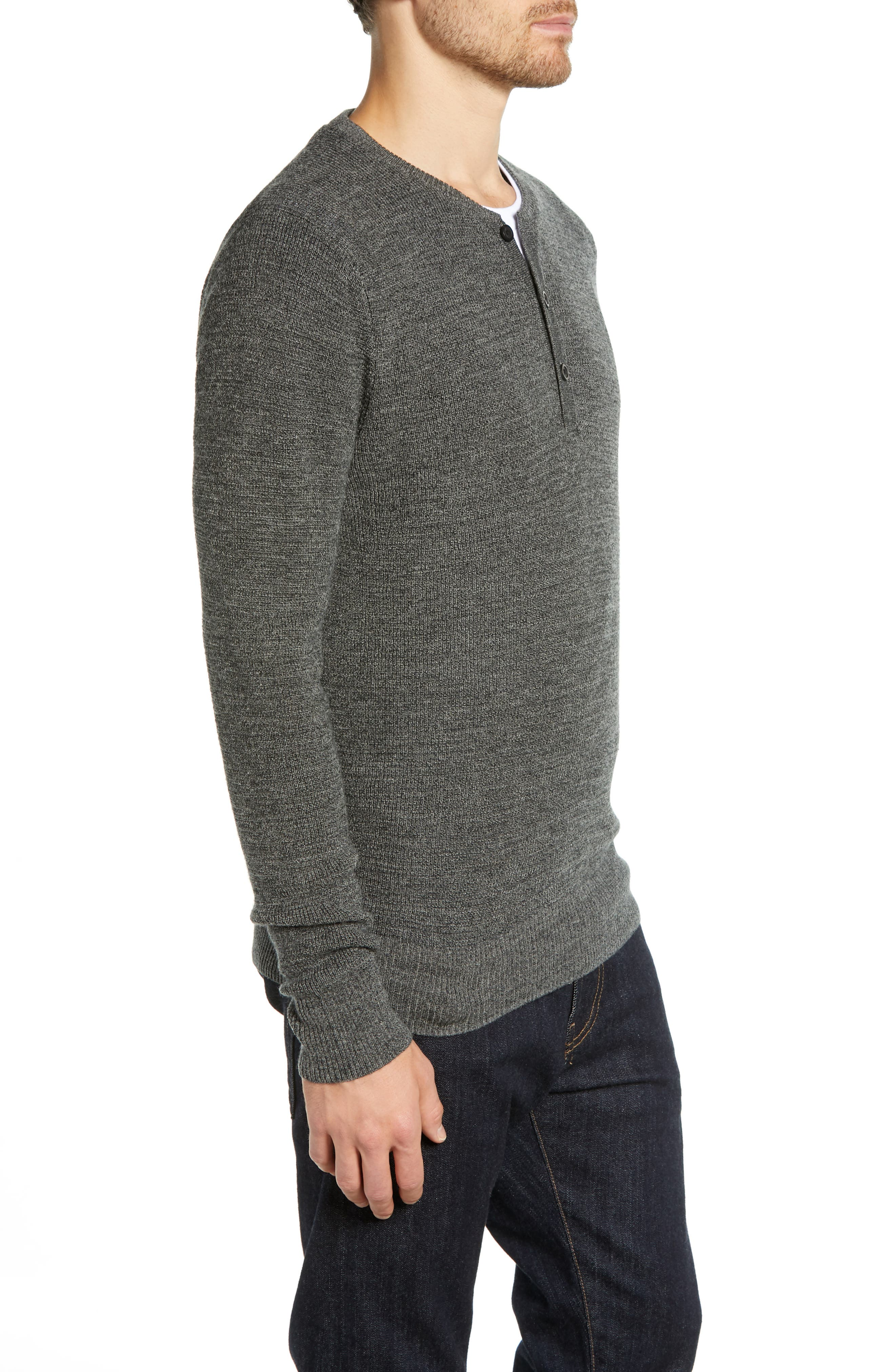 Merino Wool Blend Thermal Henley,                             Alternate thumbnail 3, color,                             GREY PHANTOM