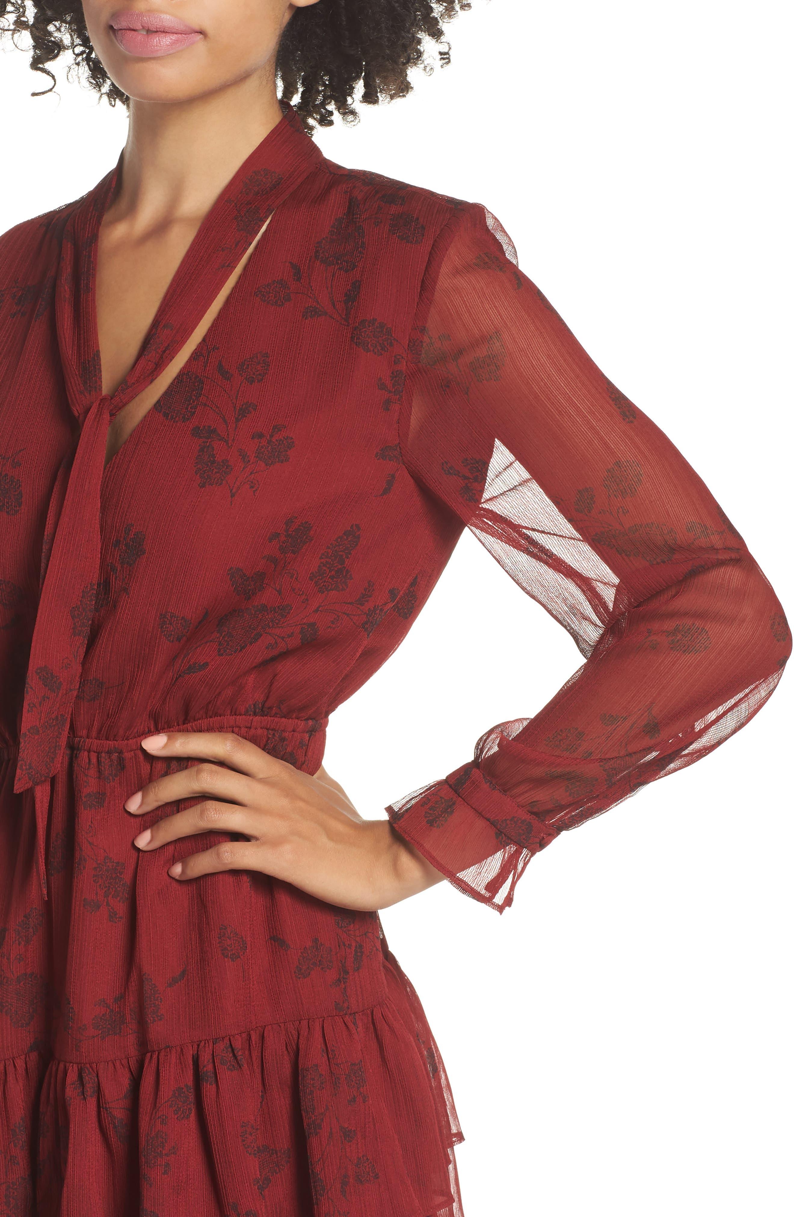BB DAKOTA,                             Wine Down Print Chiffon Dress,                             Alternate thumbnail 4, color,                             SUNDRIED TOMATO