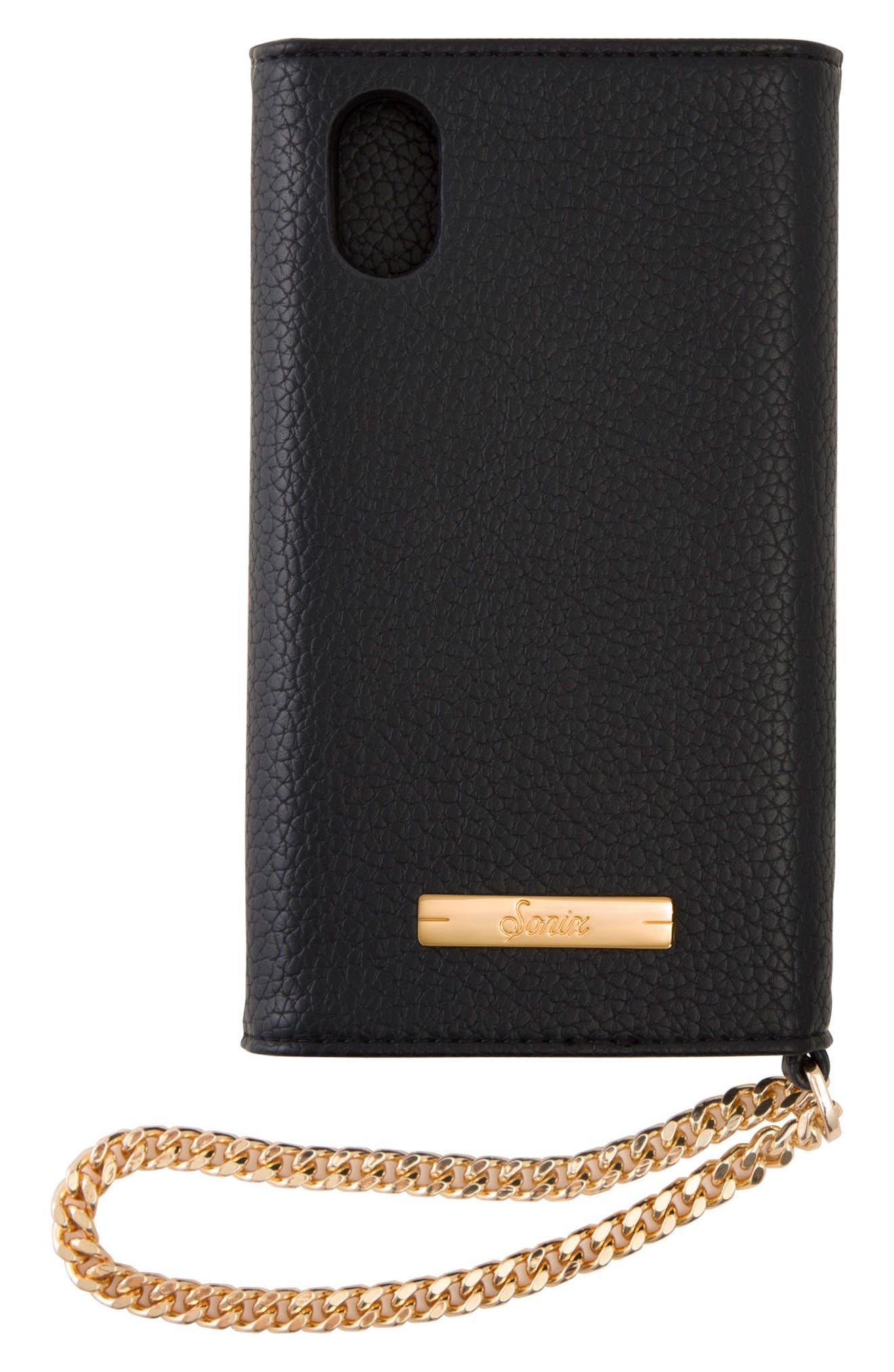 Cosmic Stud iPhone X & Xs Faux Leather Wristlet,                             Alternate thumbnail 2, color,                             BLACK