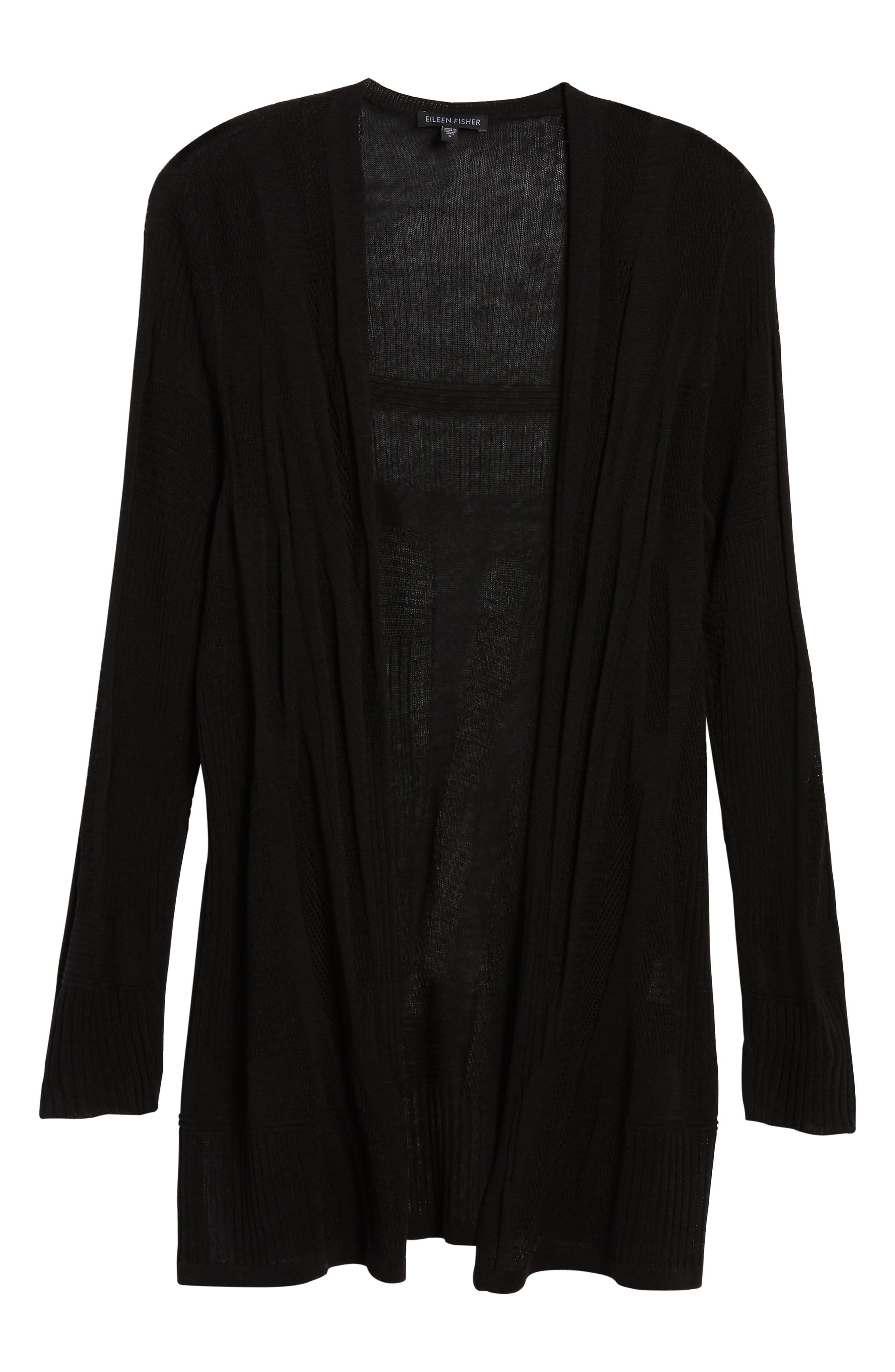 Simple Silk & Organic Linen Cardigan,                             Alternate thumbnail 6, color,                             001