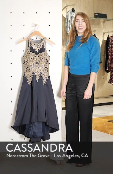 Embroidered High/Low Mikado Cocktail Dress, sales video thumbnail