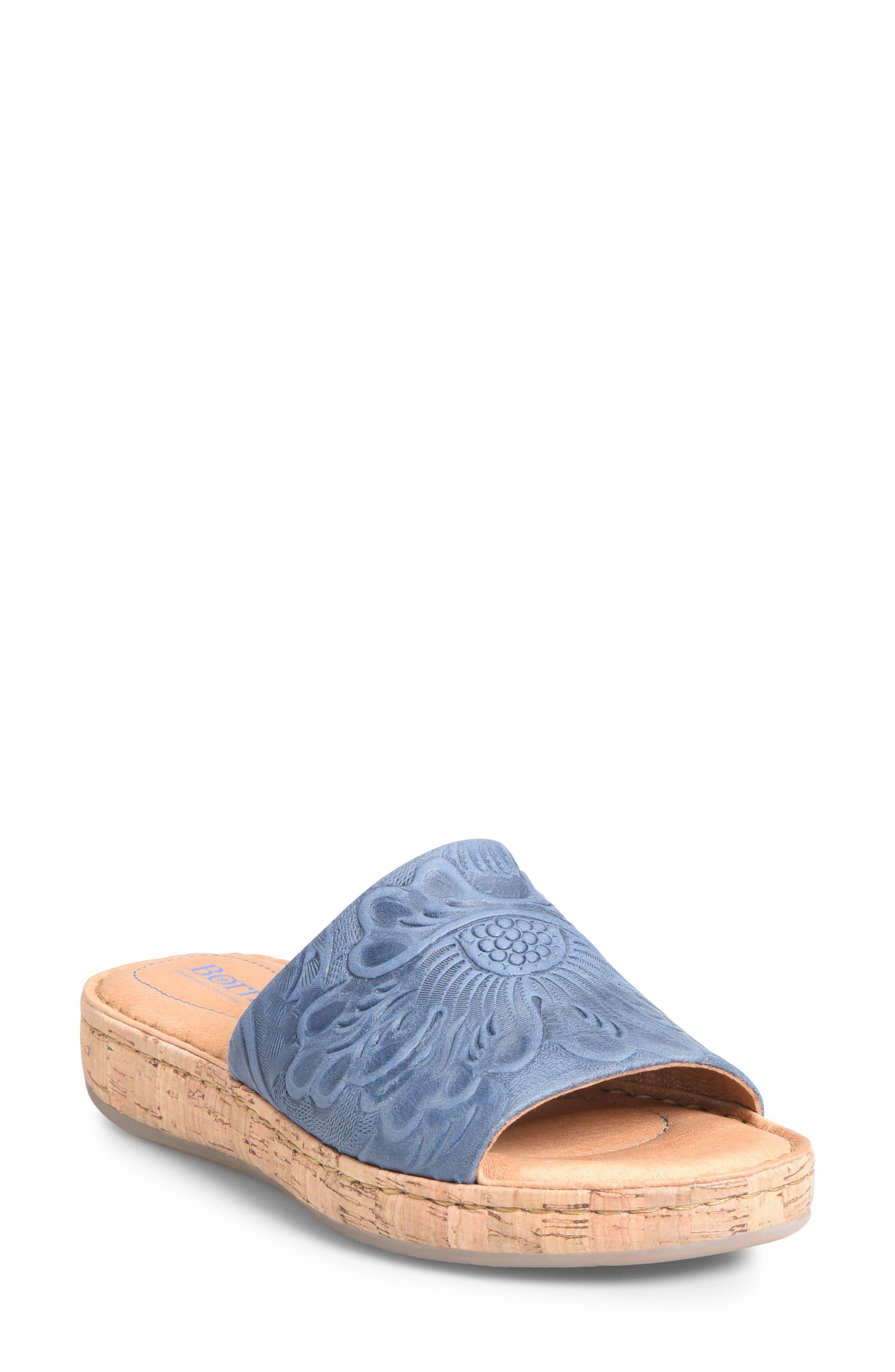 B?rn Fish Lake Tooled Slide Sandal, Blue