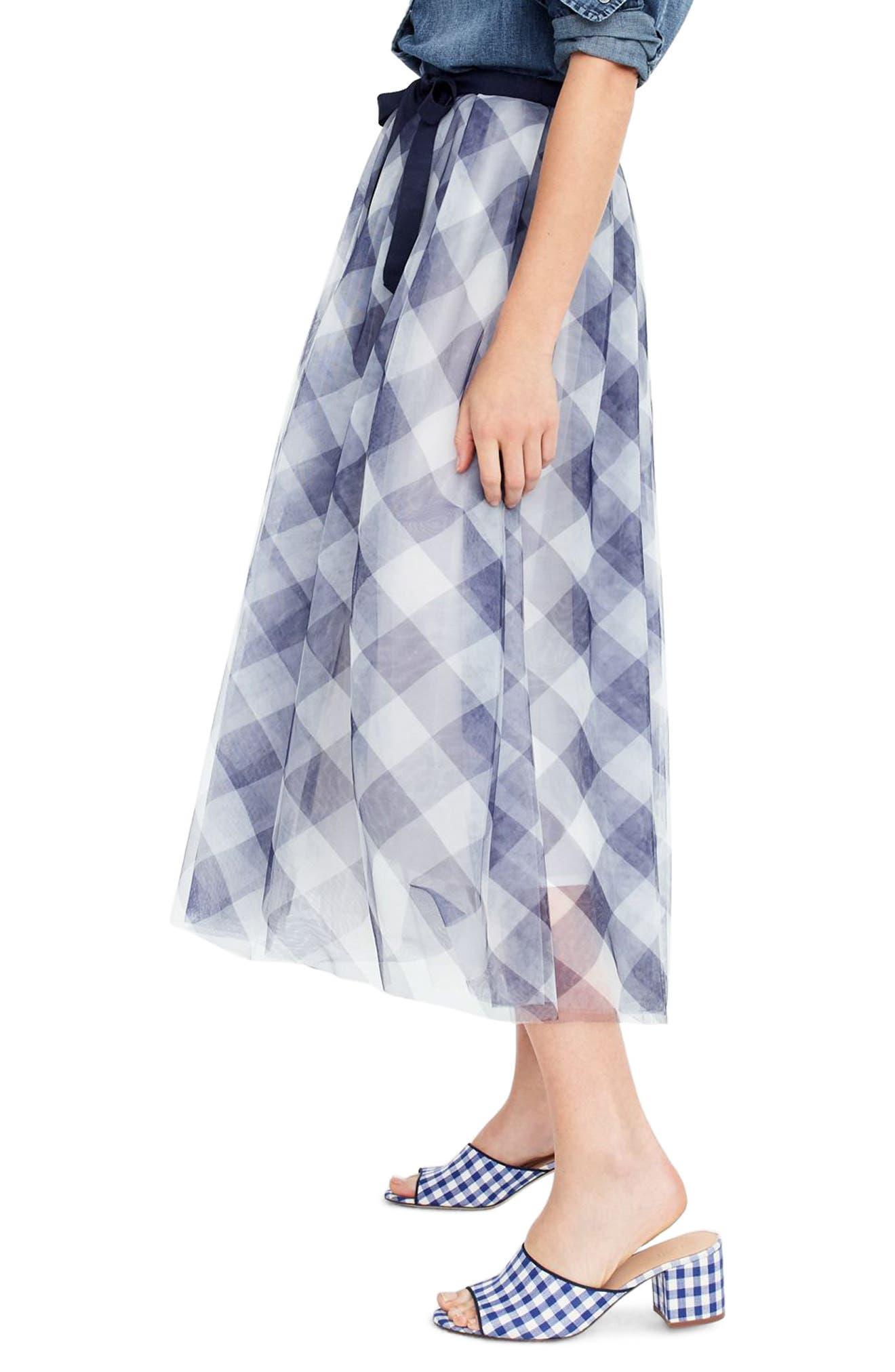 Gingham Tulle Skirt,                             Alternate thumbnail 2, color,