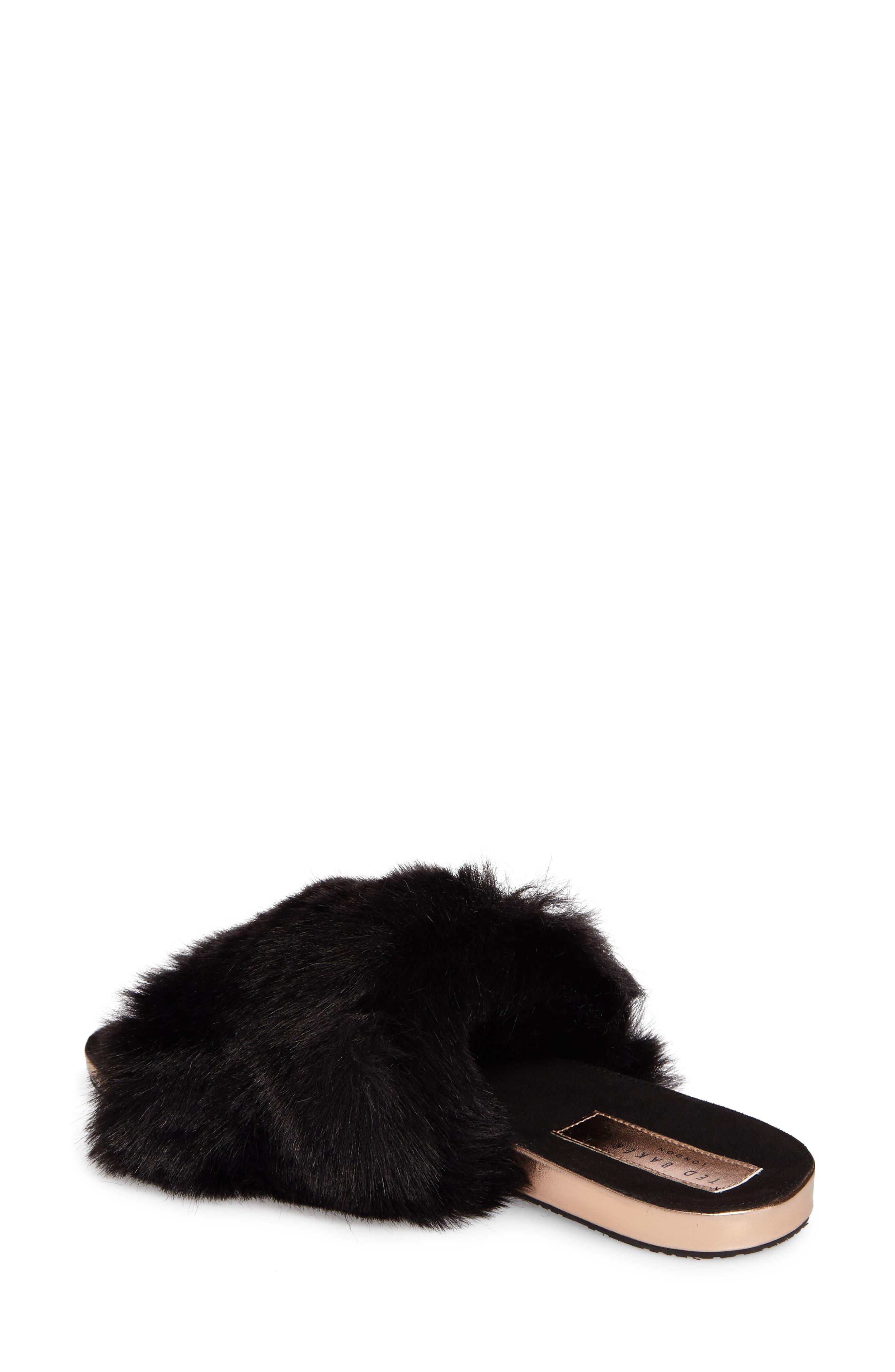 Pancey Faux Fur Slipper,                             Alternate thumbnail 2, color,                             001