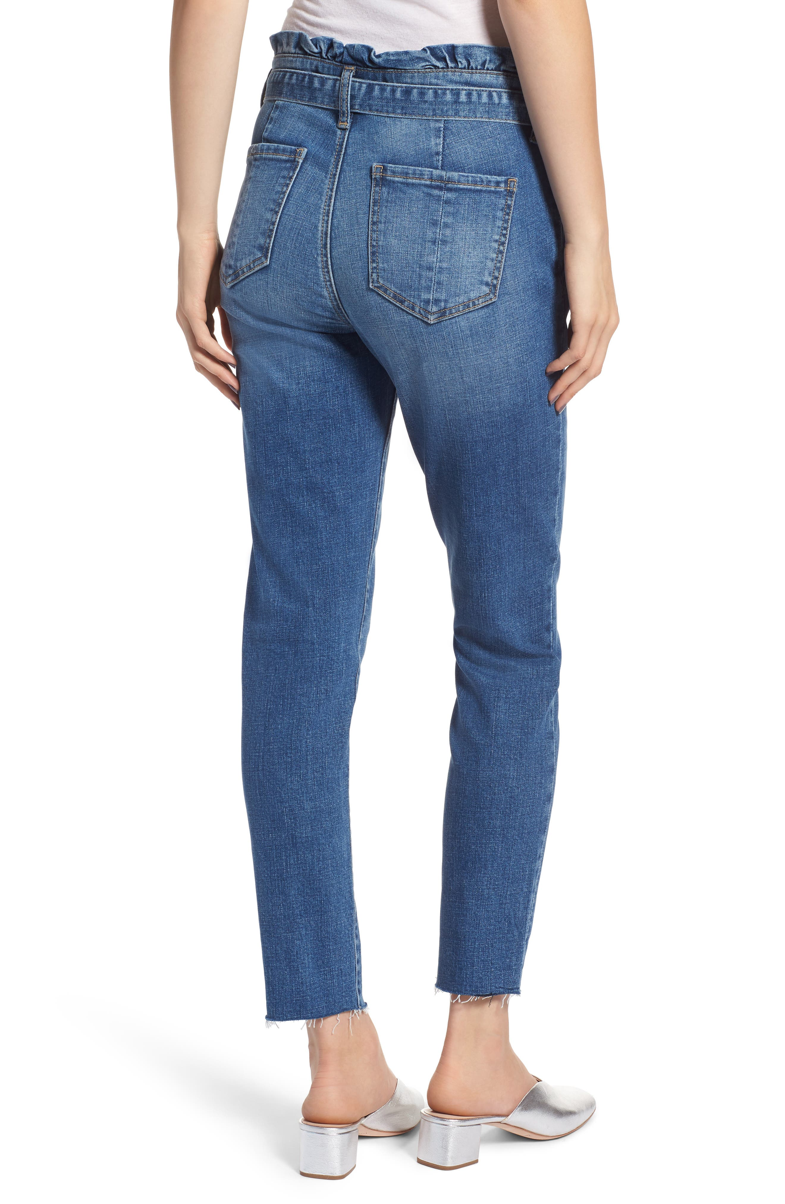 Paperbag Waist Skinny Jeans,                             Alternate thumbnail 2, color,                             PRETTY