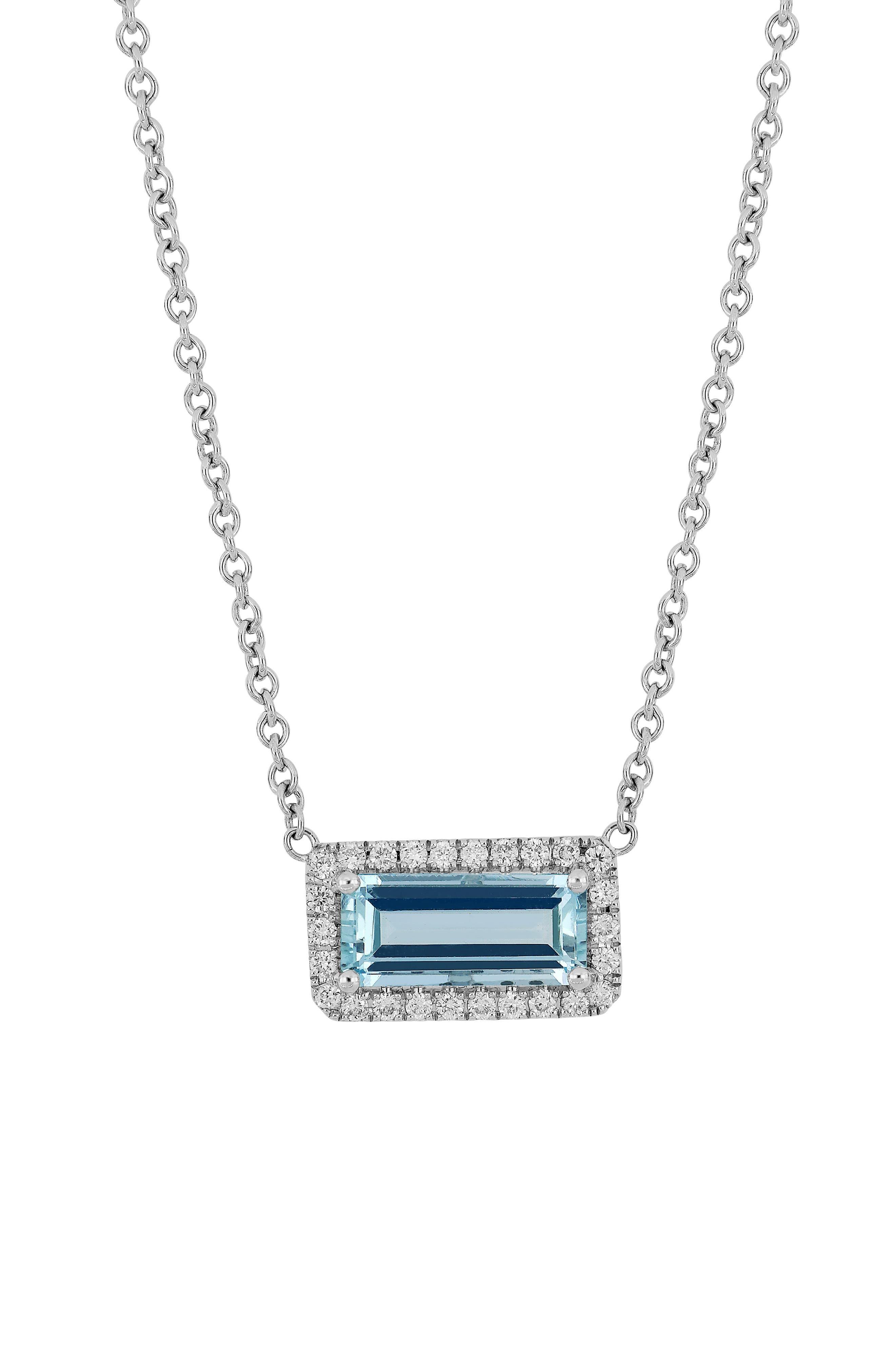 Diamond & Aquamarine Pendant Necklace,                             Main thumbnail 1, color,                             711