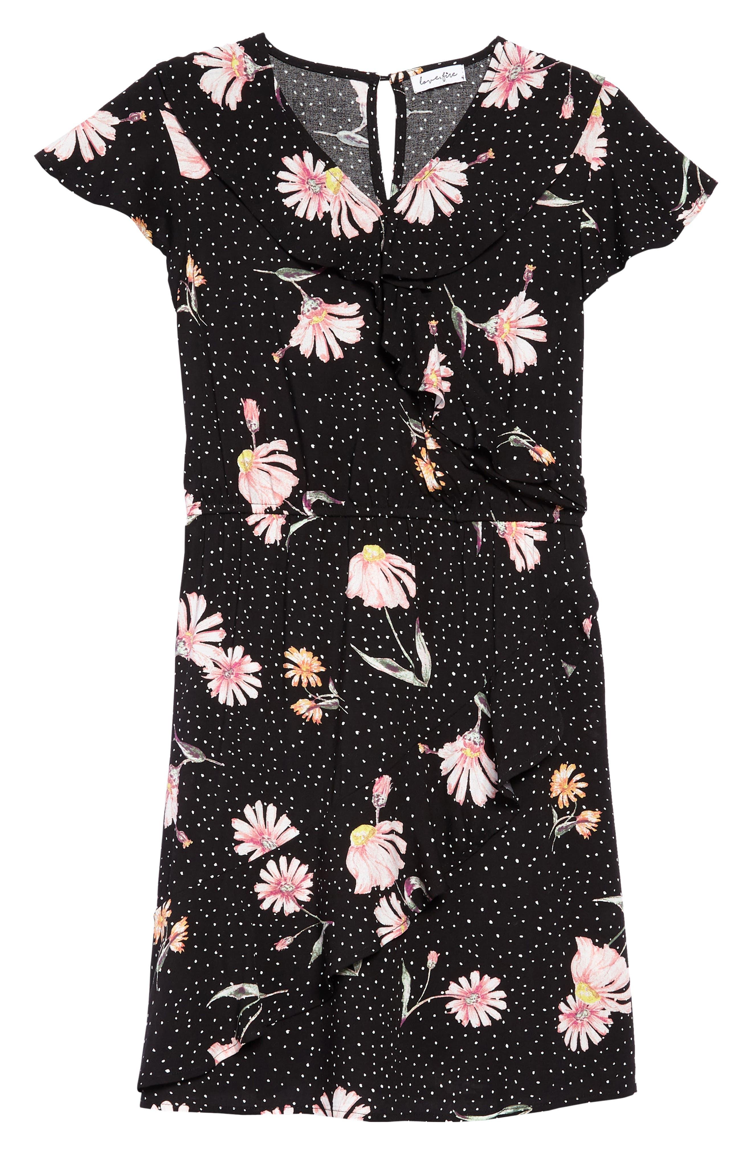 Print Wrap Dress,                             Main thumbnail 1, color,                             001