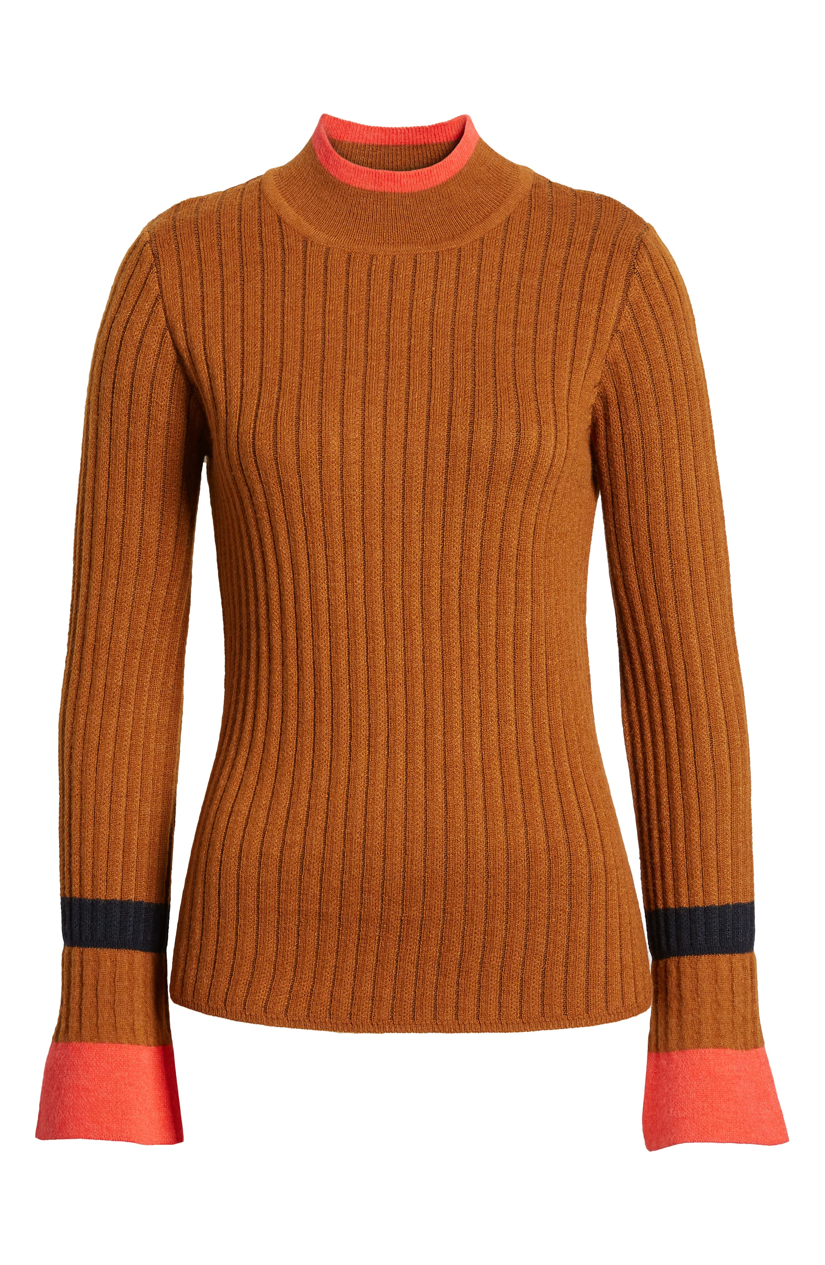 Stripe Bell Sleeve Sweater,                             Alternate thumbnail 6, color,                             CHOCOLATE