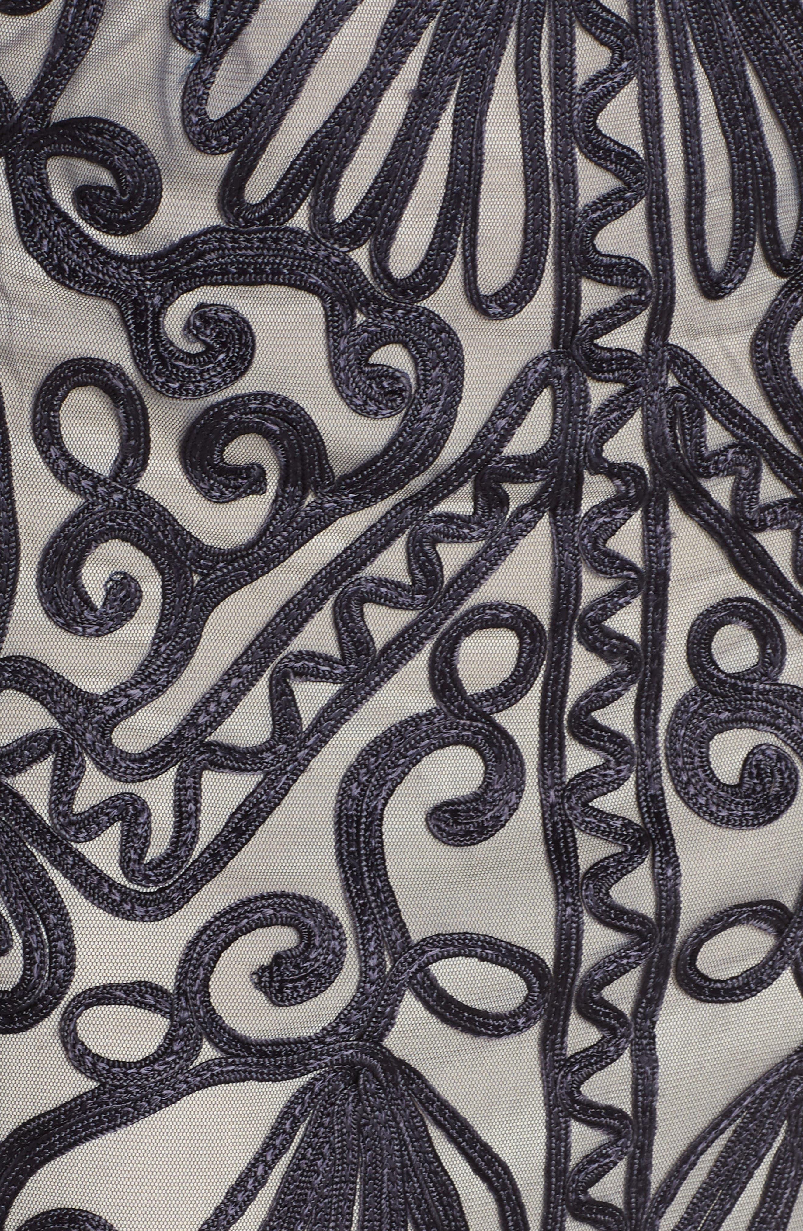 Sheer Sleeve Soutache Sheath Dress,                             Alternate thumbnail 6, color,                             NAVY/ NUDE