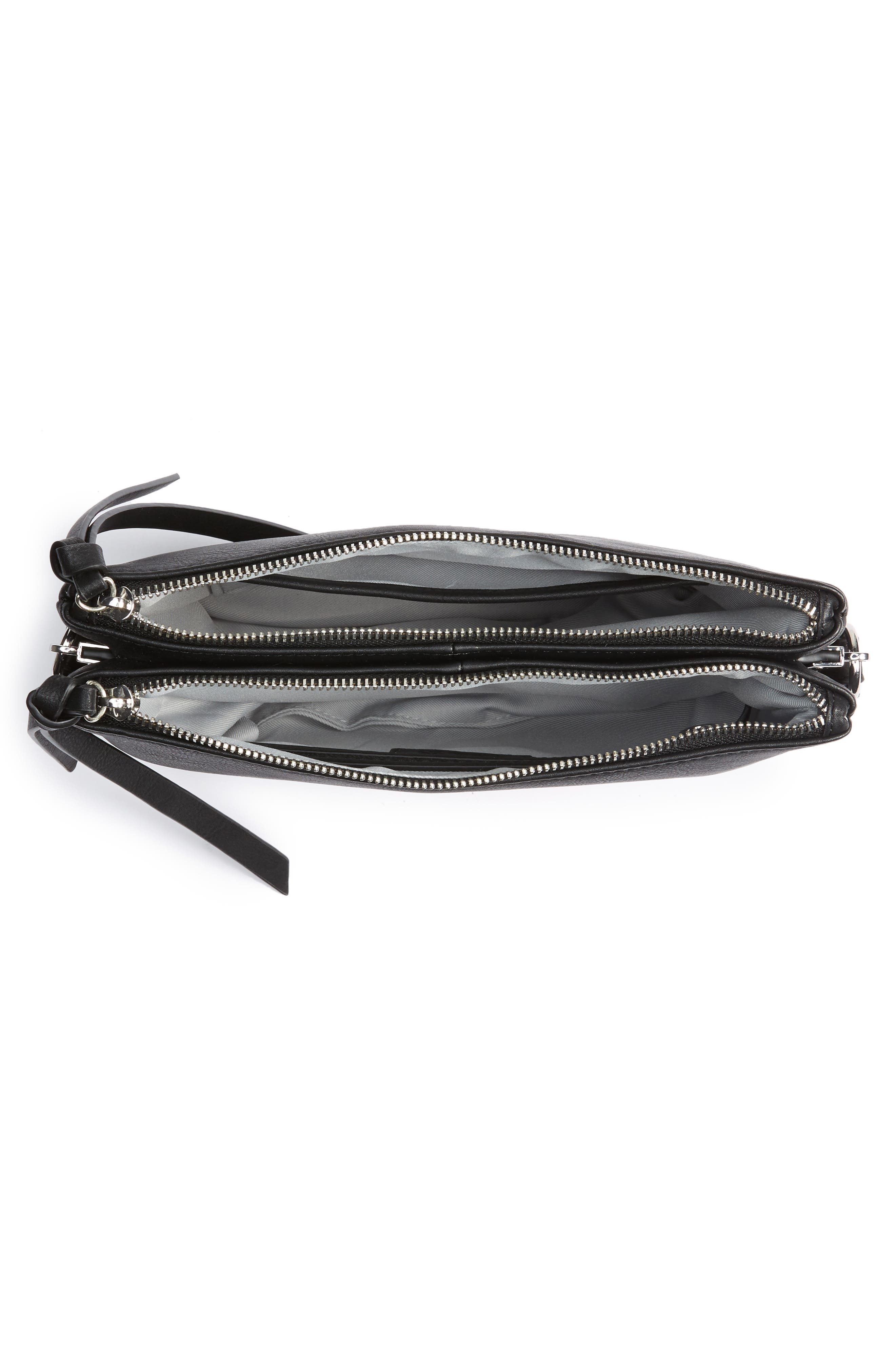 Kia Double Zip Faux Leather Crossbody Bag,                             Alternate thumbnail 4, color,                             001