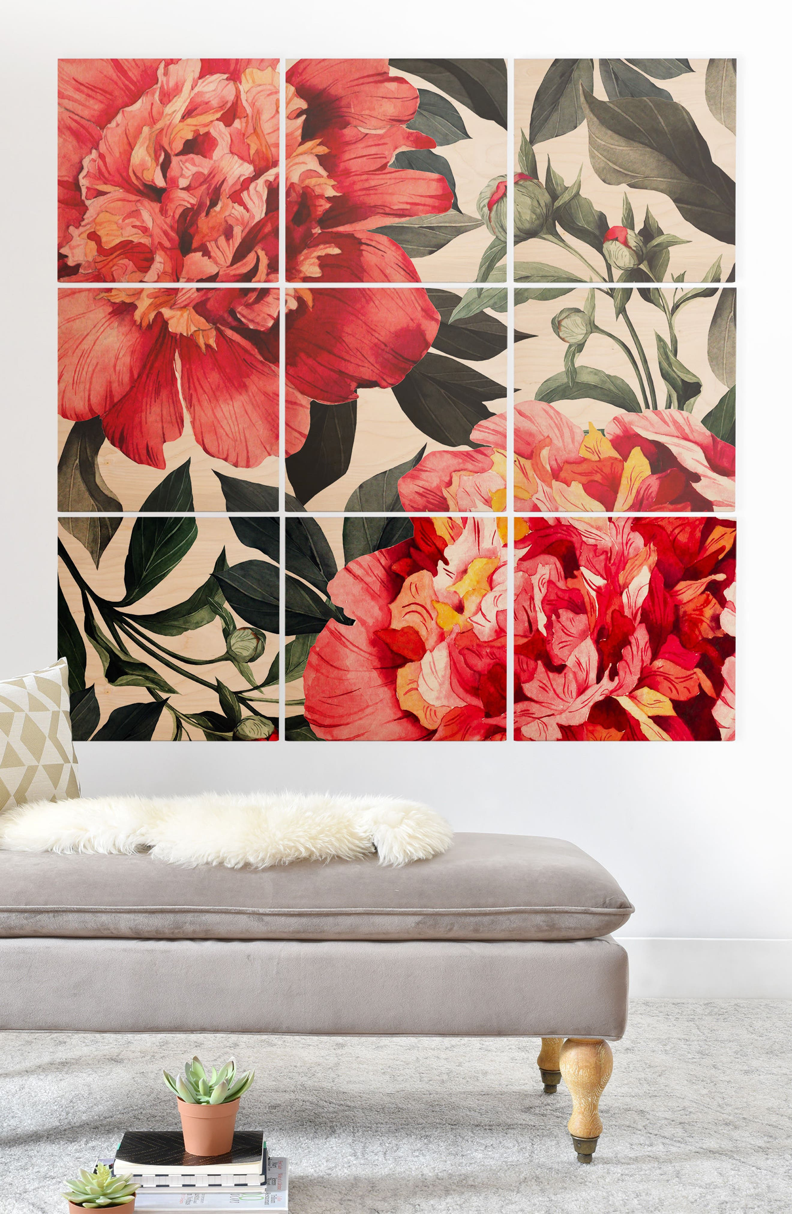 Red Flowers 9-Piece Wood Wall Mural,                             Alternate thumbnail 2, color,