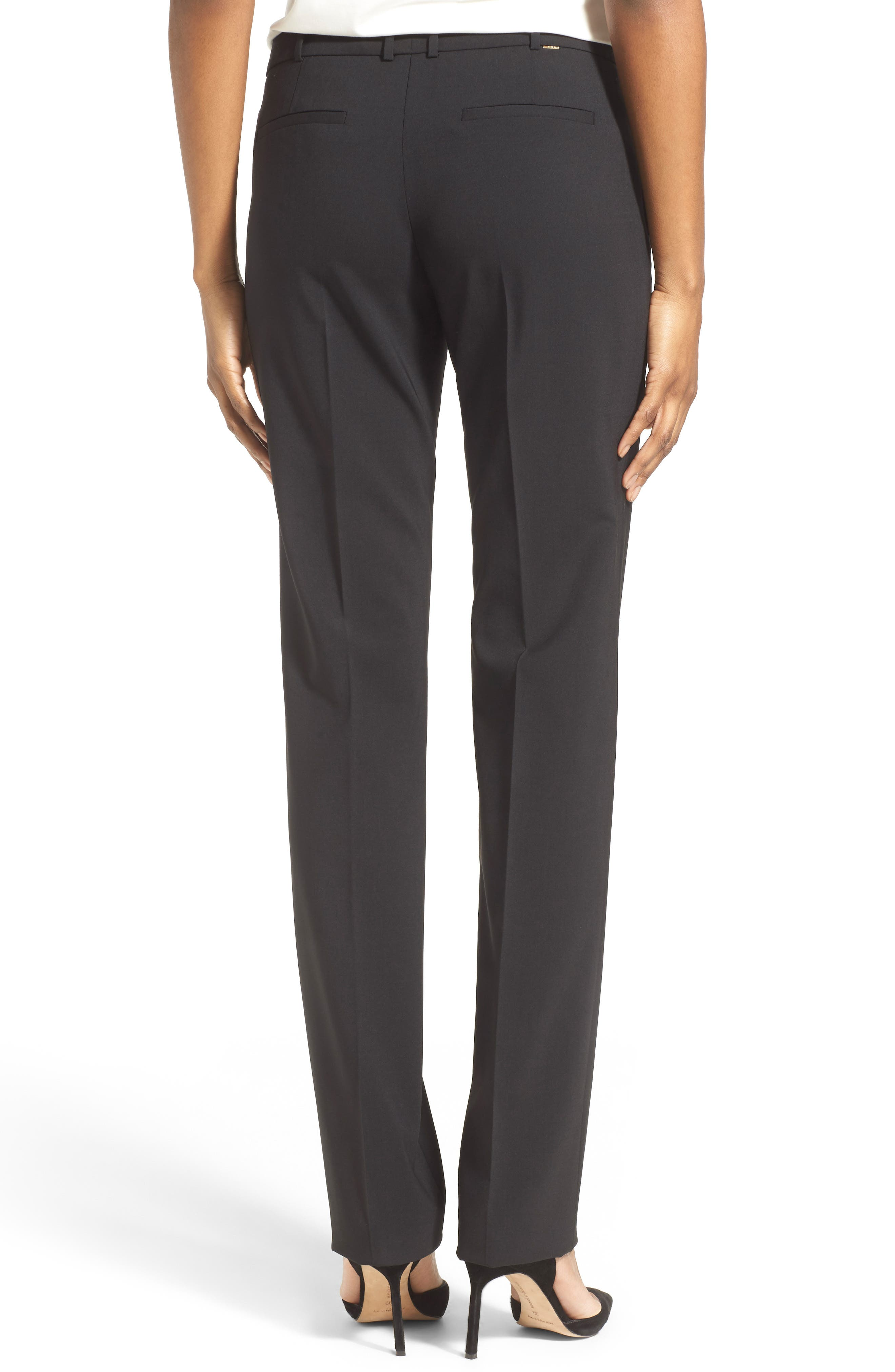 Tamea Tropical Stretch Wool Trousers,                             Alternate thumbnail 2, color,                             BLACK