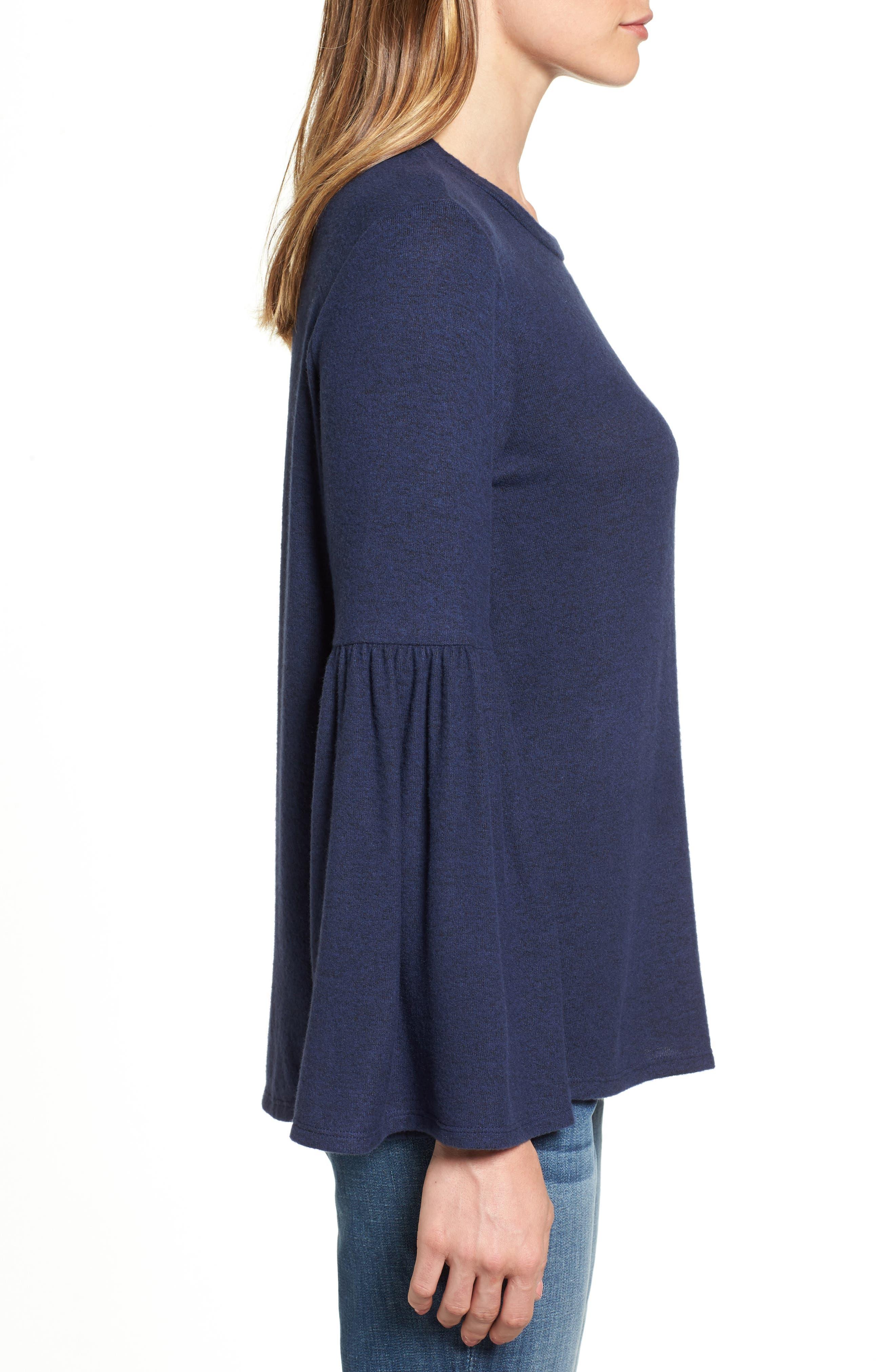 Bell Sleeve Cozy Fleece Pullover,                             Alternate thumbnail 33, color,