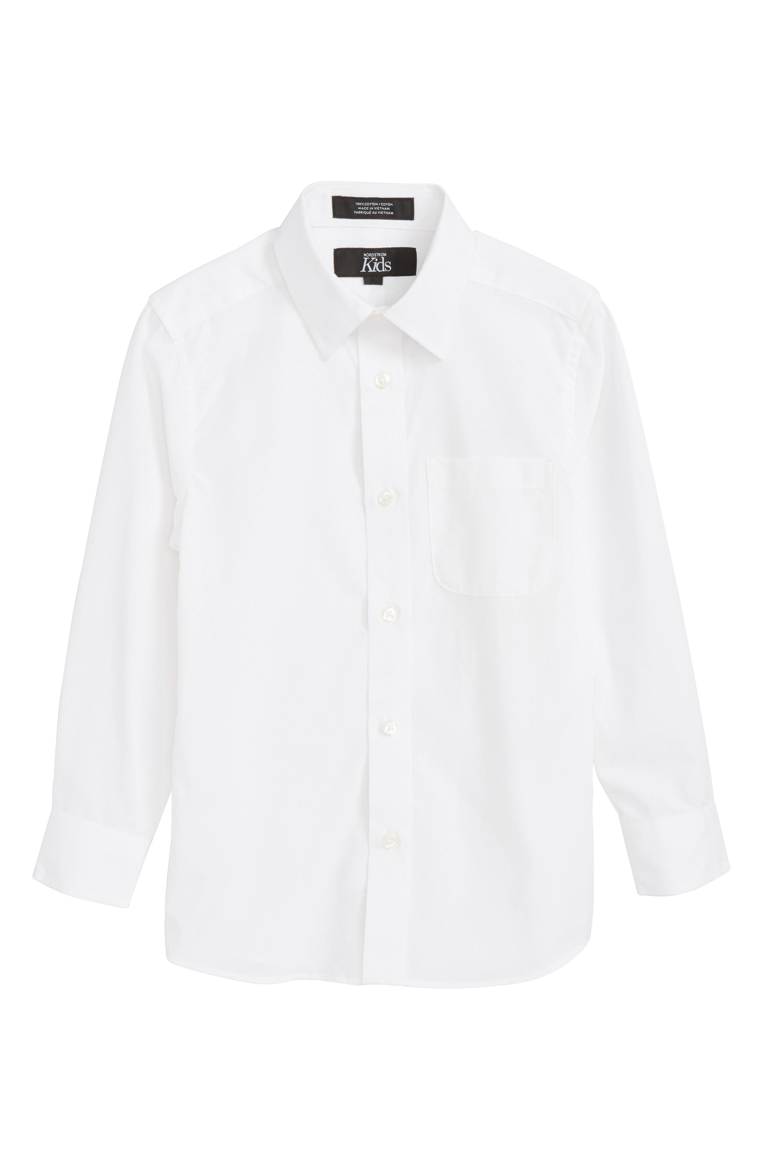 White Dobby Sport Shirt,                         Main,                         color, 100