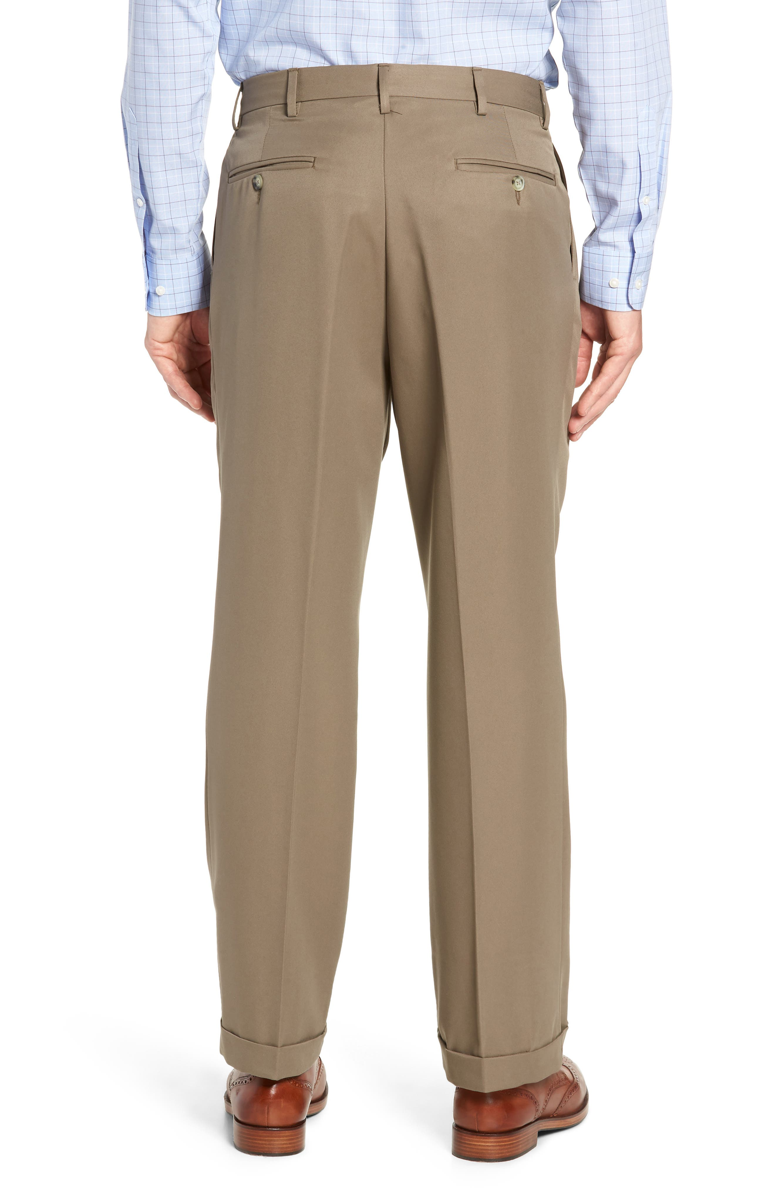 Classic Fit Pleated Microfiber Performance Trousers,                             Alternate thumbnail 2, color,                             GREEN