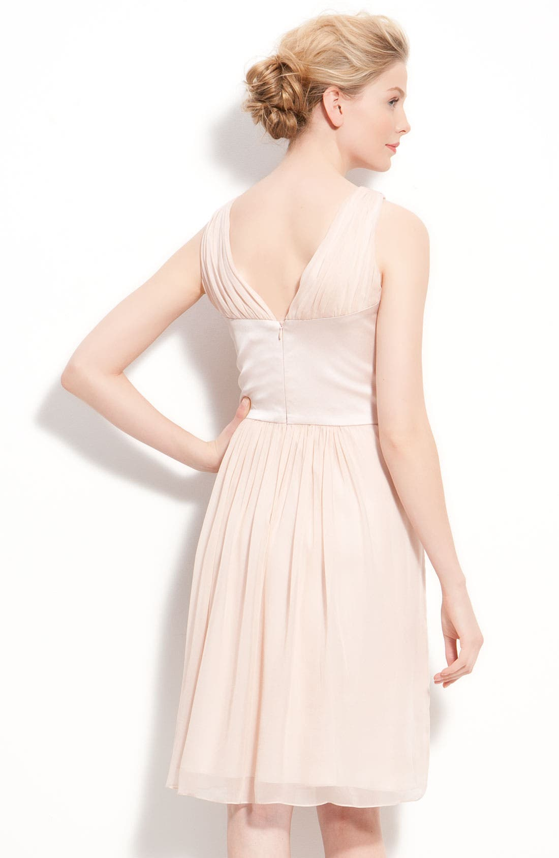 Satin & Pleated Chiffon Dress,                             Alternate thumbnail 3, color,
