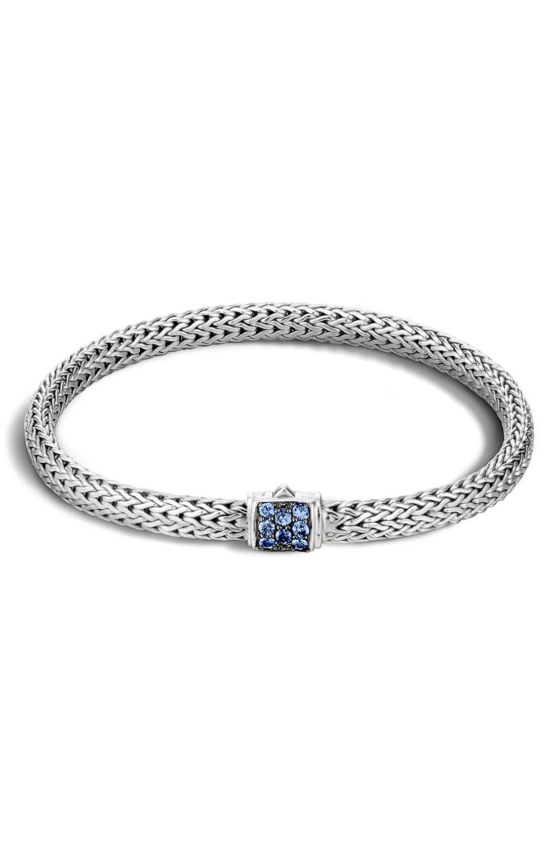Classic Chain 5mm Bracelet,                         Main,                         color, SILVER/ BLUE SAPPHIRE