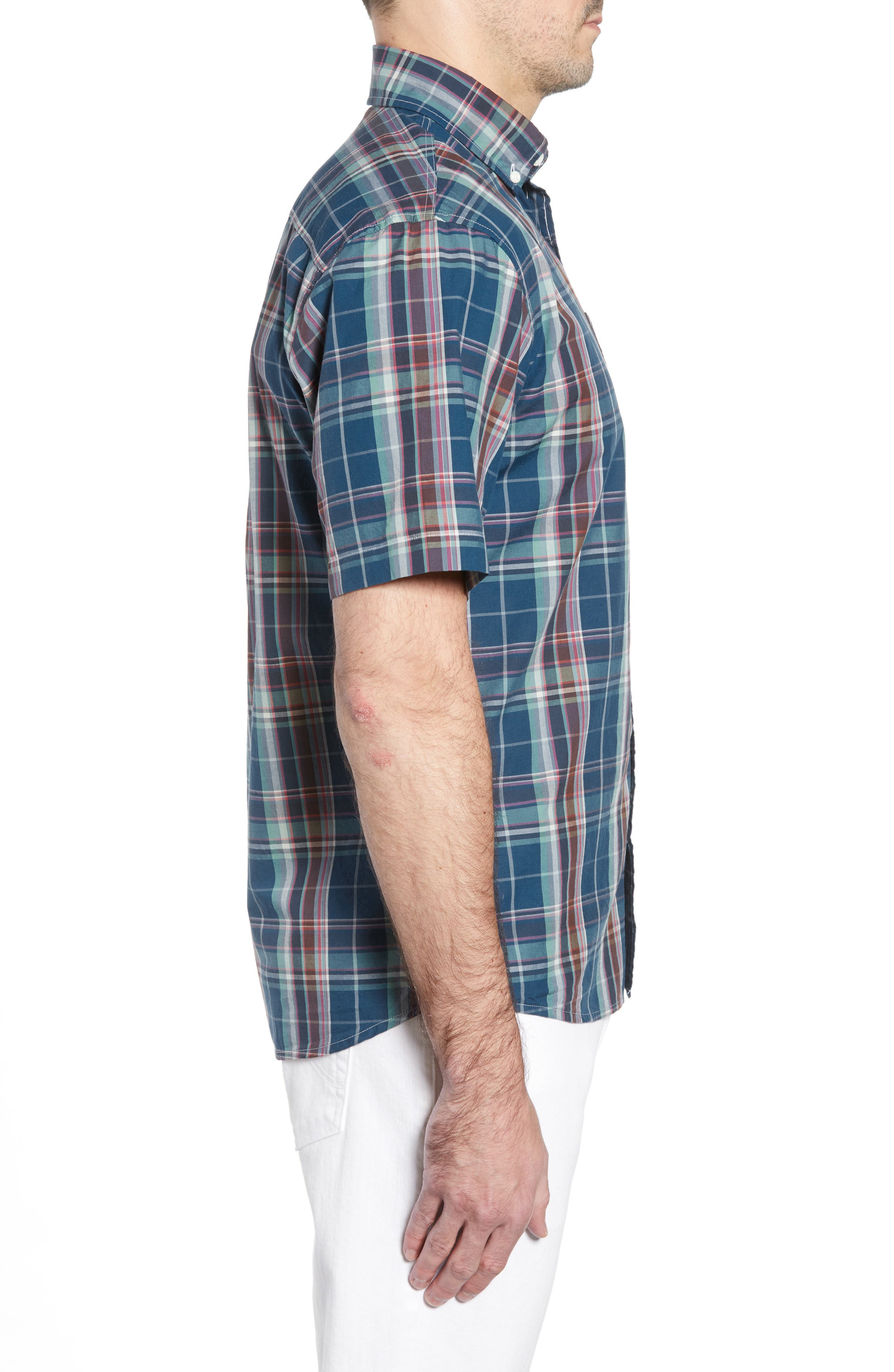 Exum Classic Fit Plaid Sport Shirt,                             Alternate thumbnail 4, color,                             LAKE