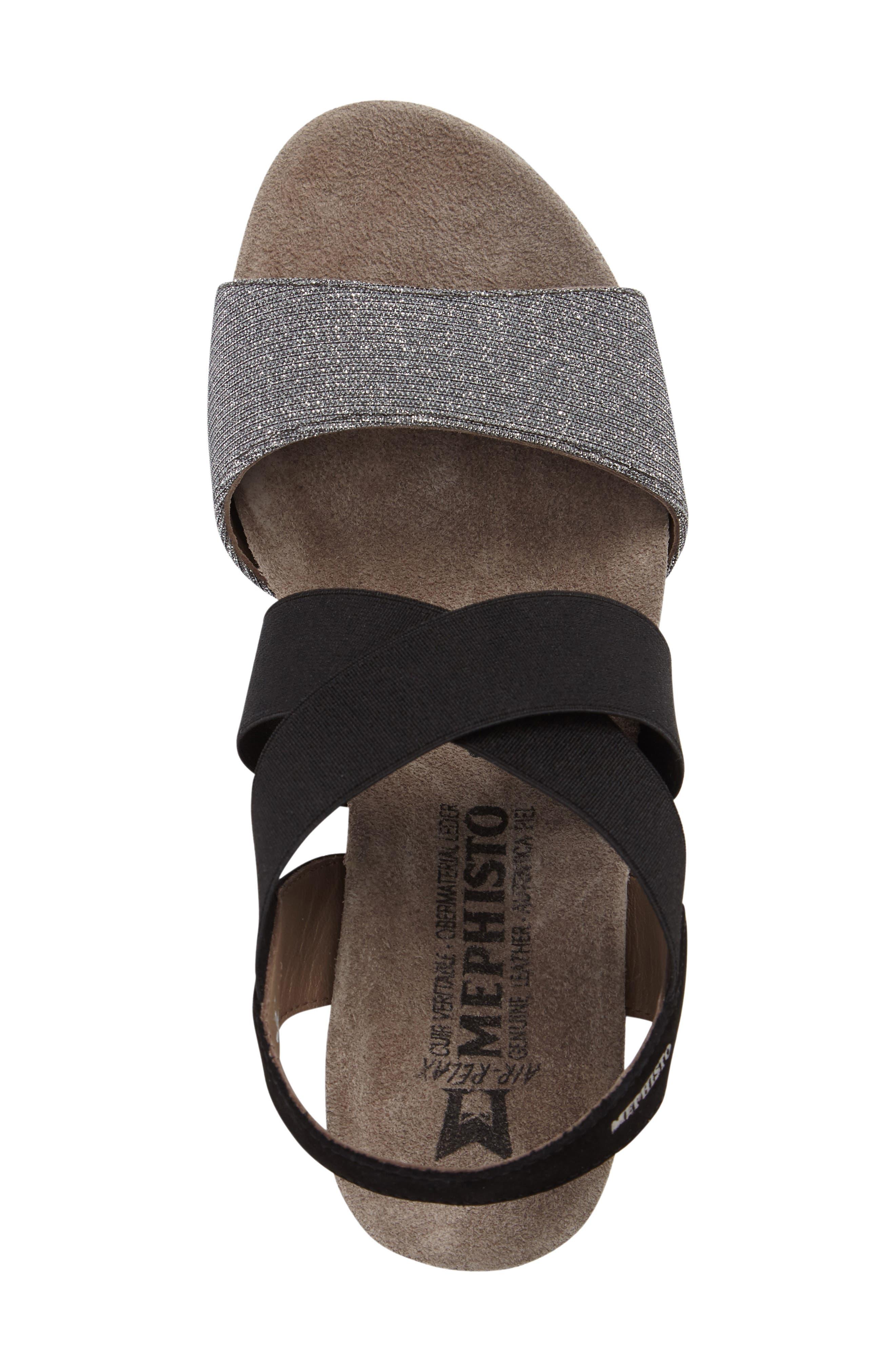 'Barbara' Wedge Sandal,                             Alternate thumbnail 5, color,                             BLACK BUCKSOFT LEATHER